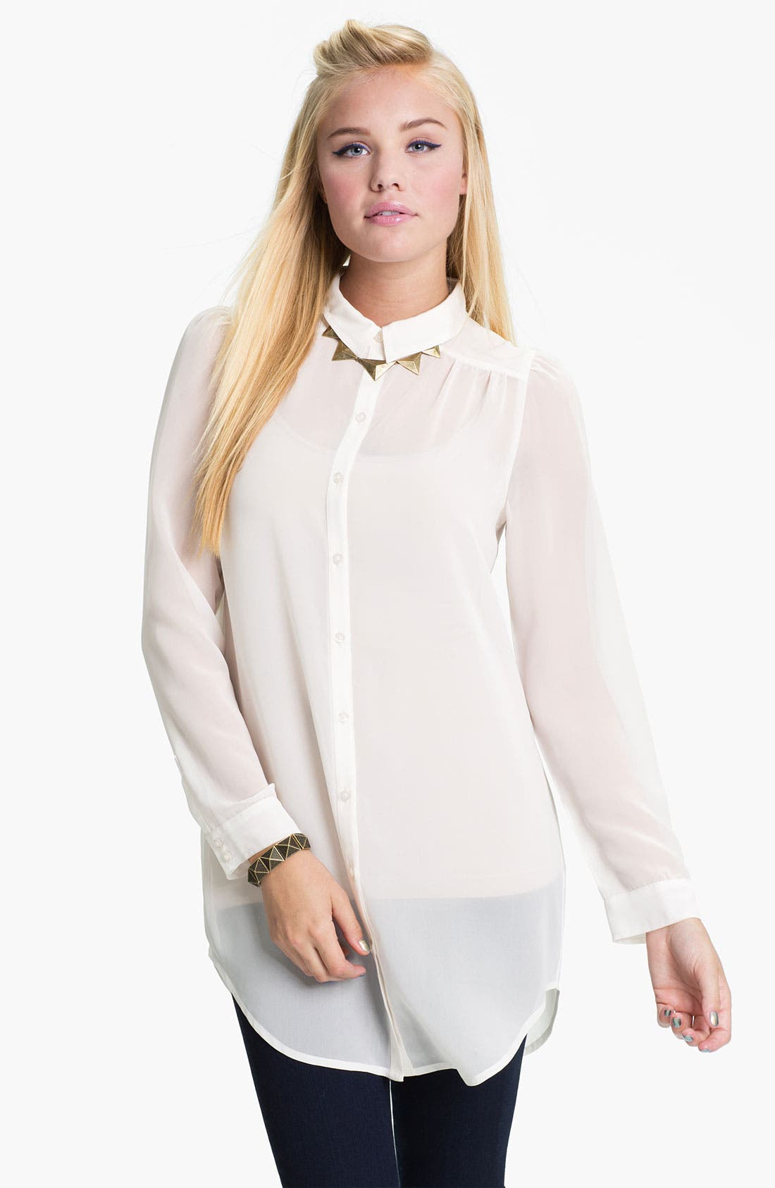 Alternate Image 1 Selected - Frenchi® Chiffon Tunic Shirt (Juniors)
