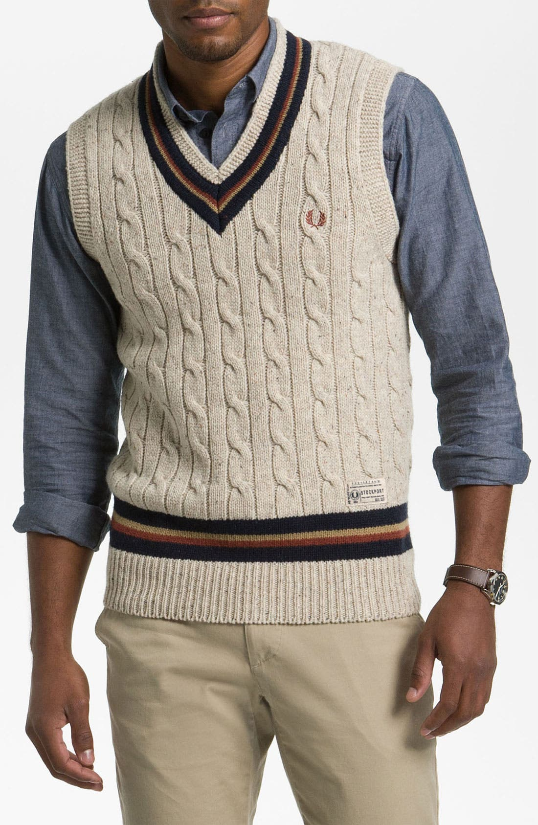 Main Image - Fred Perry V-Neck Lambswool Sweater Vest