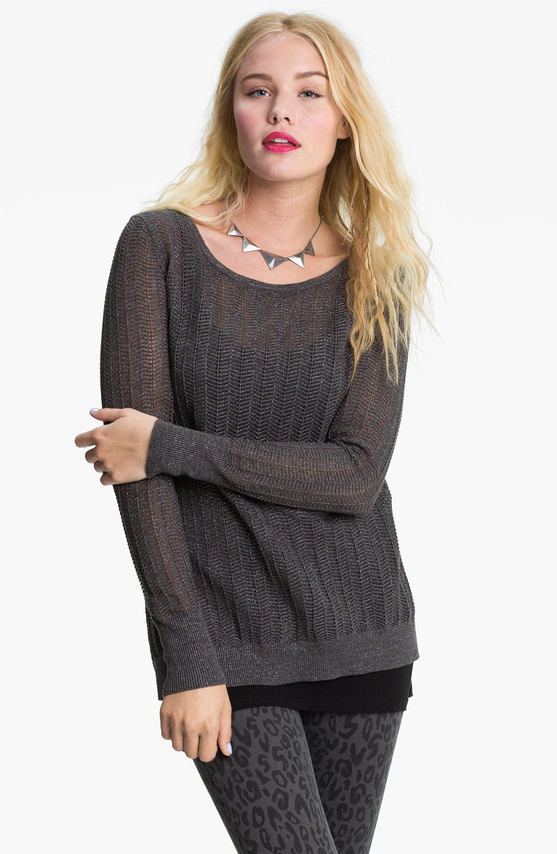 Alternate Image 1 Selected - Original Frenchi Metallic Pointelle Sweater (Juniors)