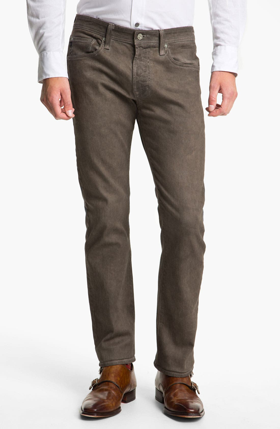 Alternate Image 1 Selected - AG Jeans 'Matchbox' Slim Straight Leg Jeans (Brown Wave)