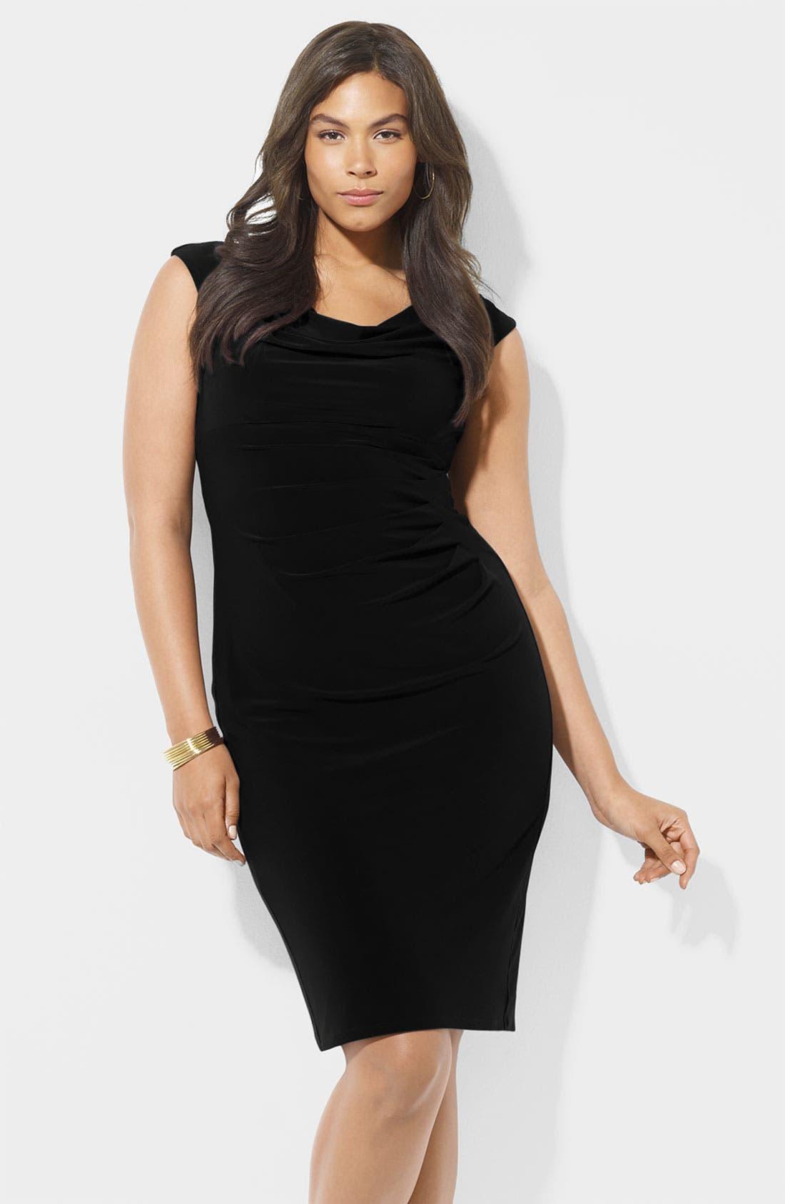 Main Image - Lauren Ralph Lauren Cowl Neck Jersey Sheath Dress (Plus)
