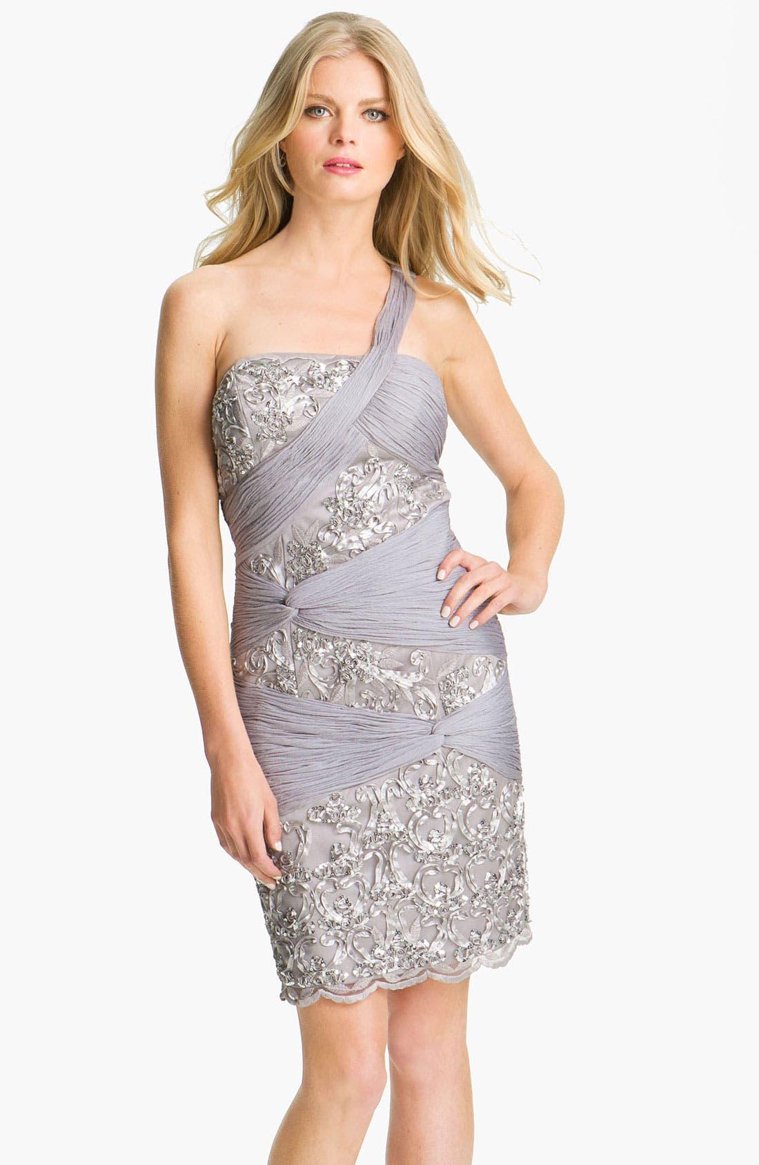 Alternate Image 1 Selected - Sue Wong Ruched Chiffon Detail Embellished Sheath Dress
