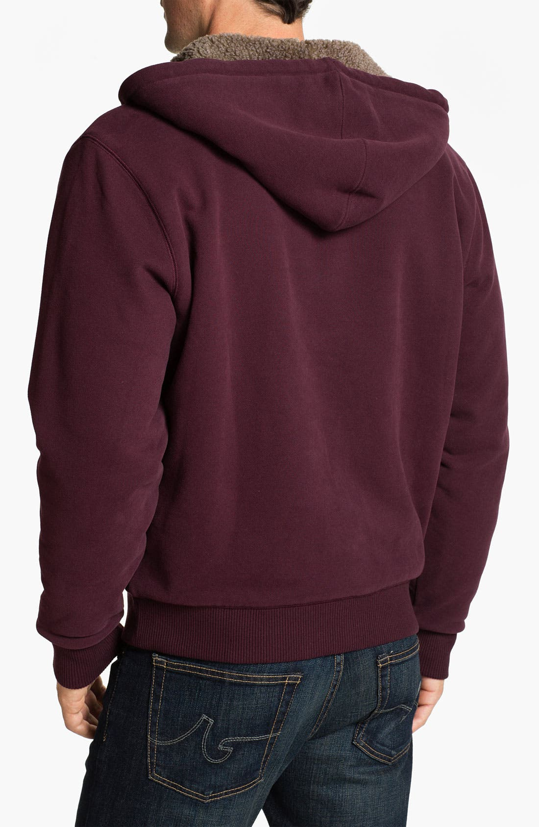 Alternate Image 2  - Brooks Brothers Zip Hoodie with Faux Shearling Lining
