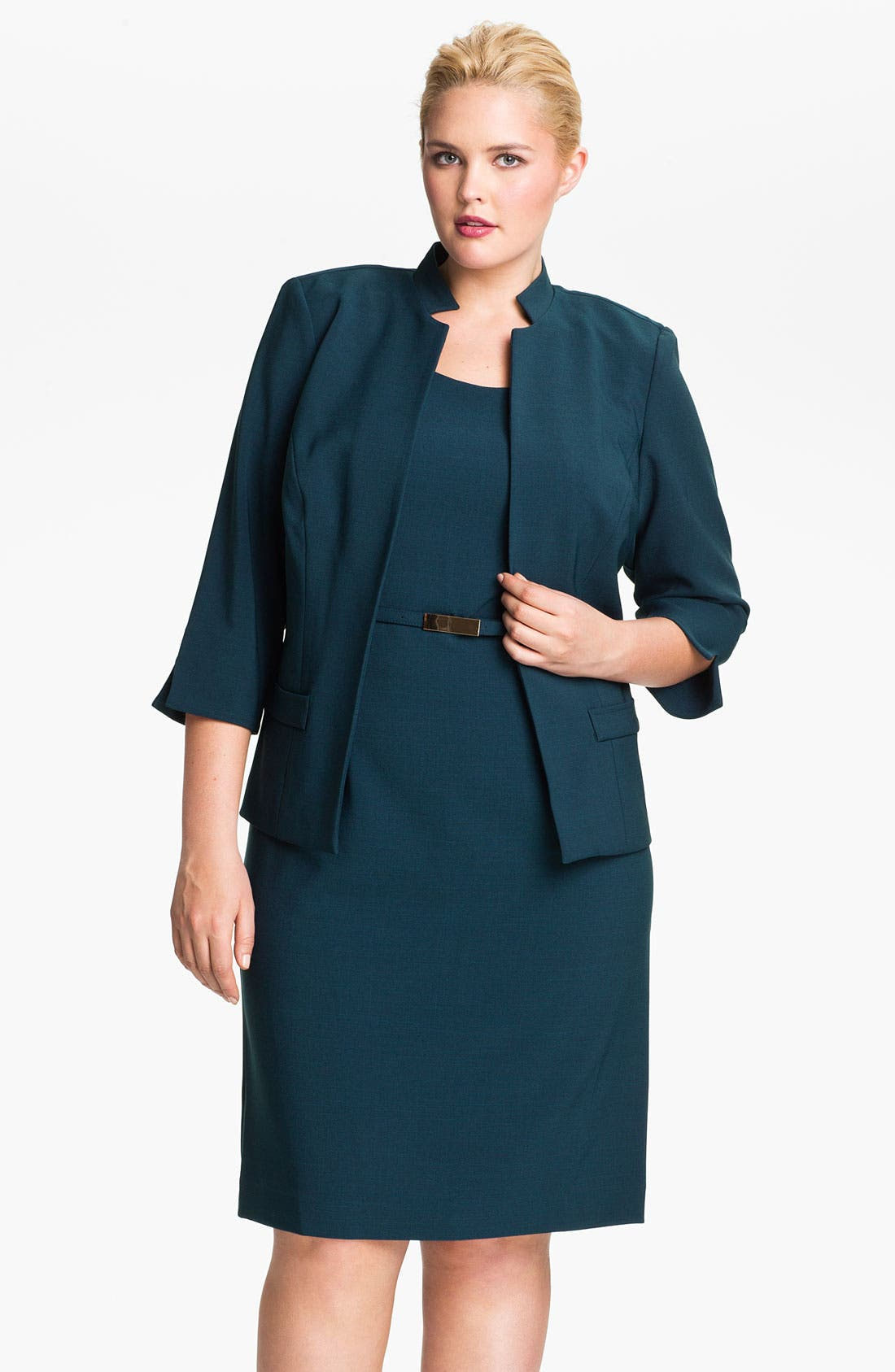 Alternate Image 1 Selected - Eliza J Belted Sheath Dress & Jacket (Plus)