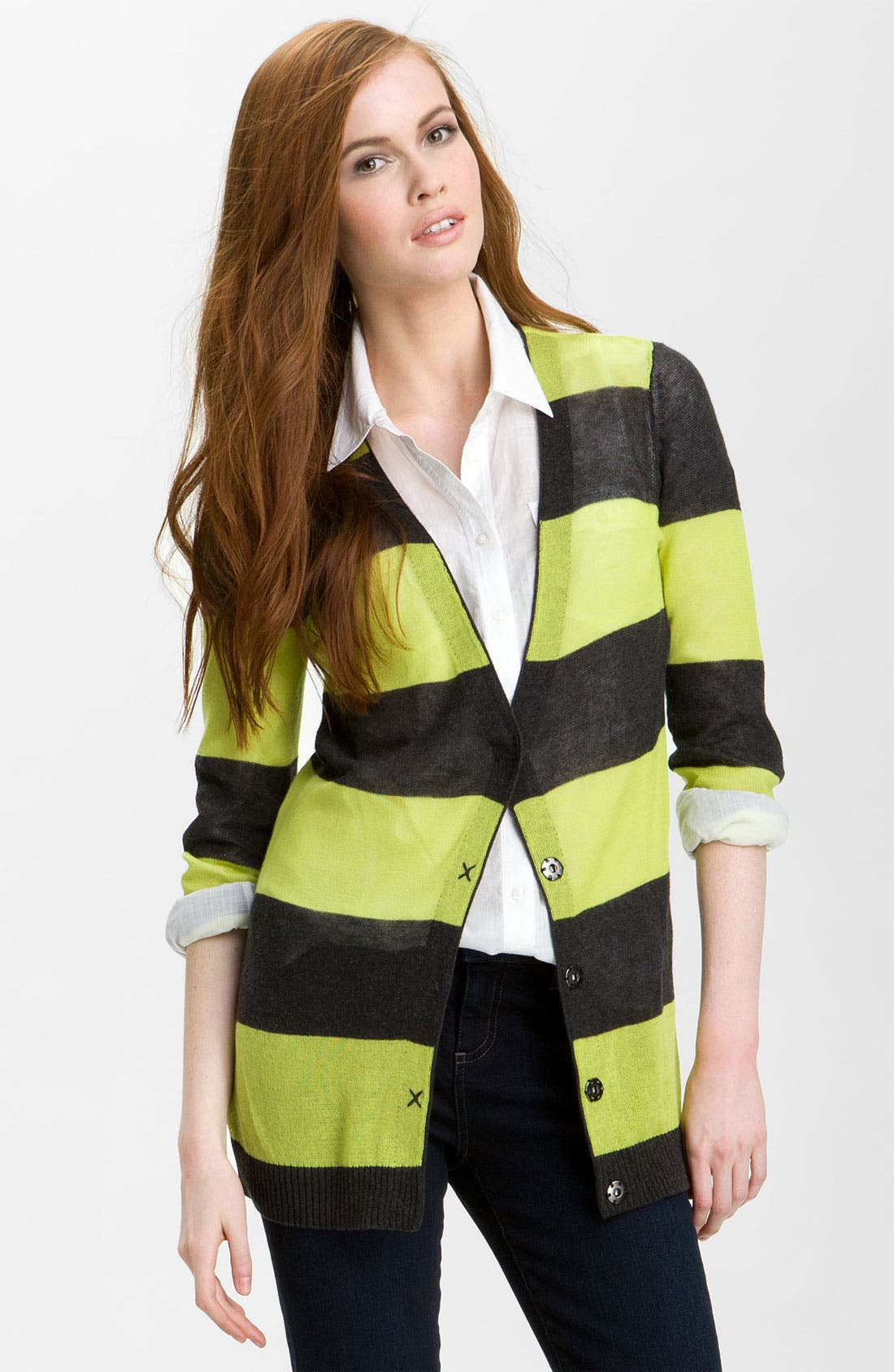 Main Image - Caslon® Snap Front Tissue Weight Cardigan (Petite)