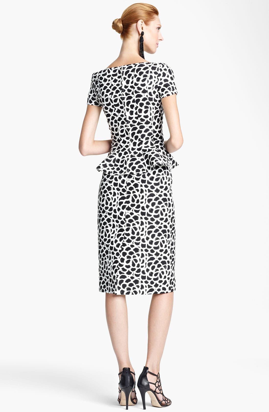 Alternate Image 2  - Oscar de la Renta Print Silk Faille Dress