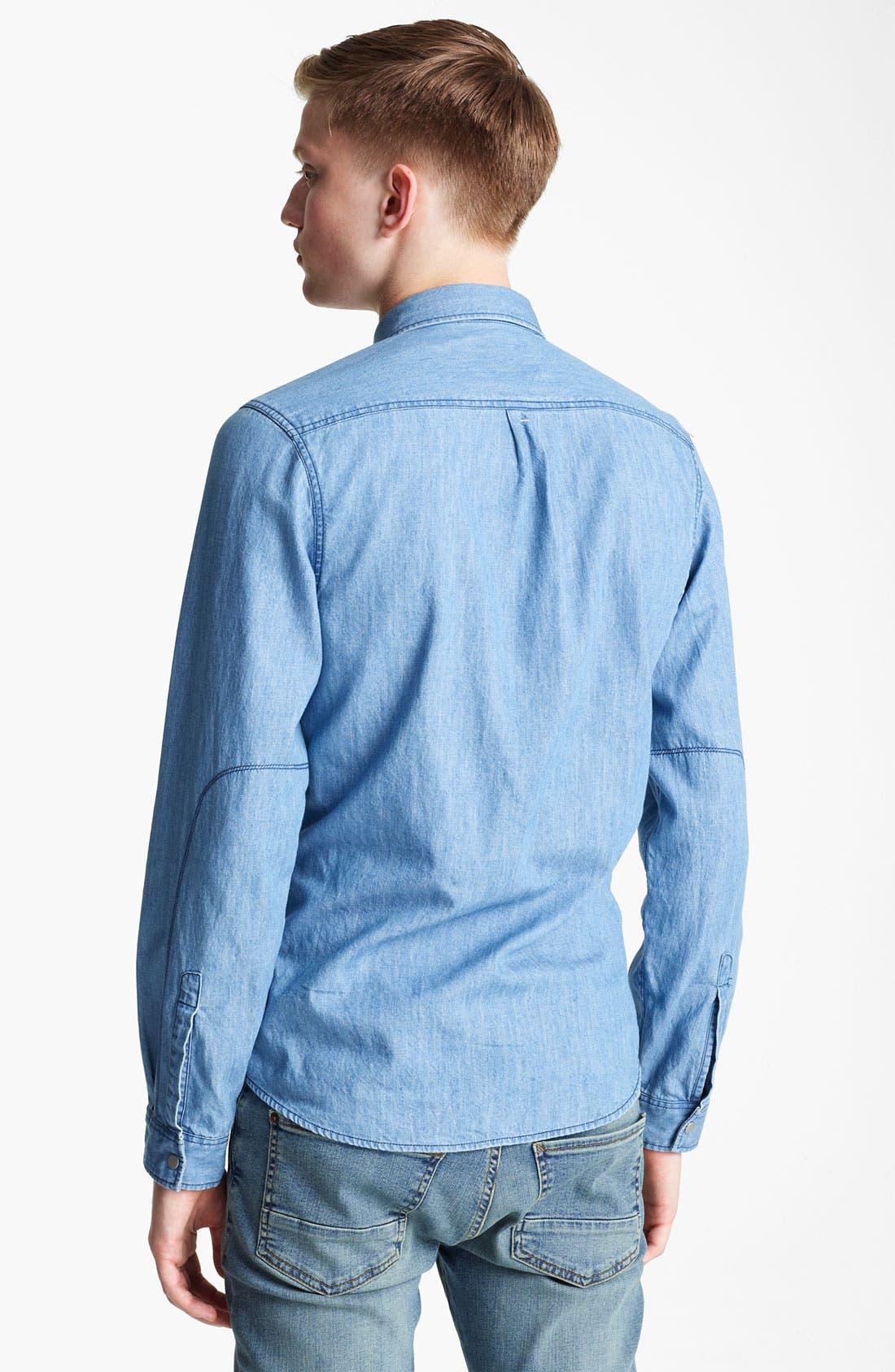 Alternate Image 2  - Topman Long Sleeve Denim Shirt
