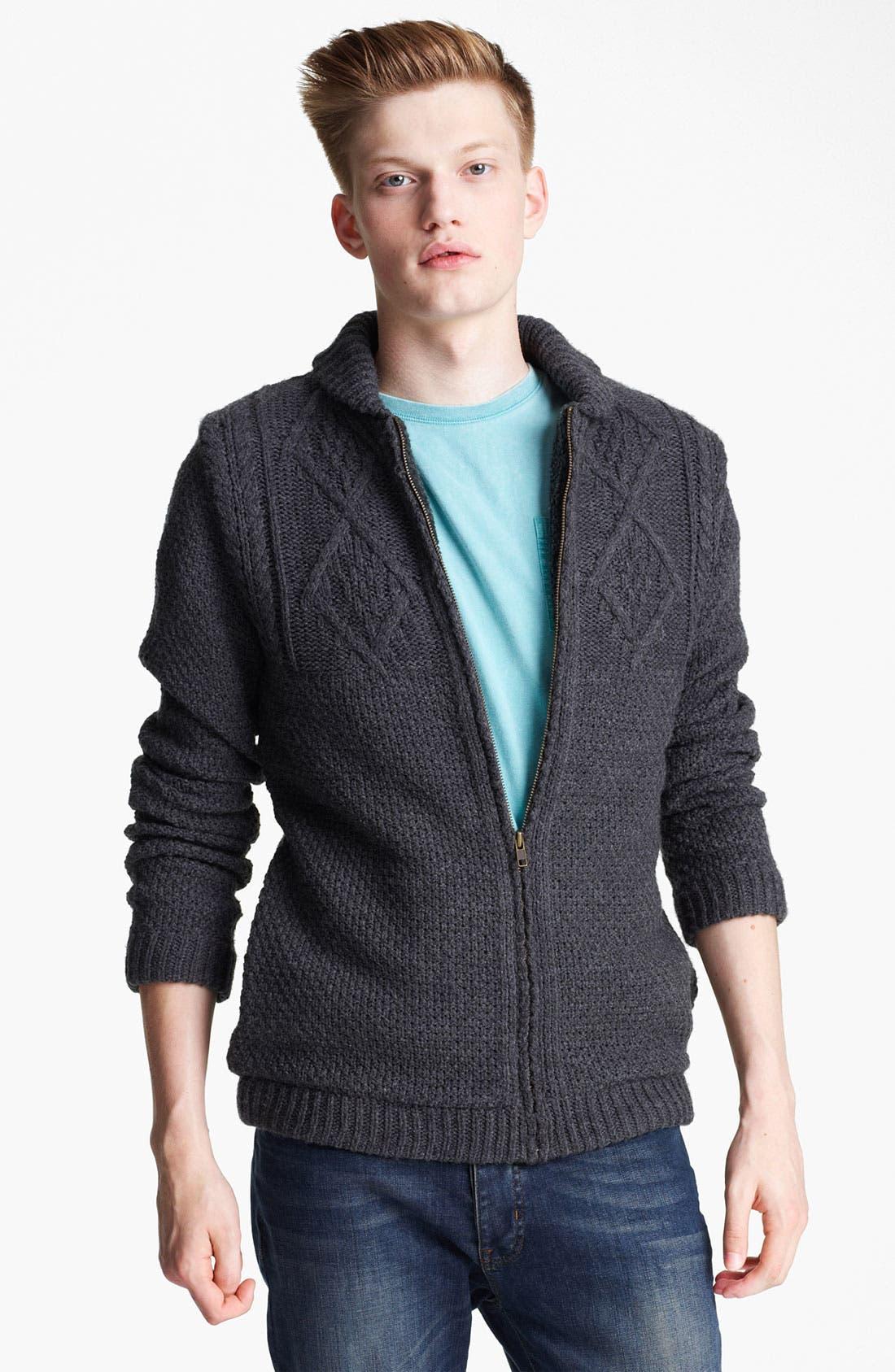 Alternate Image 1 Selected - Topman 'Borg' Shawl Collar Zip Cardigan
