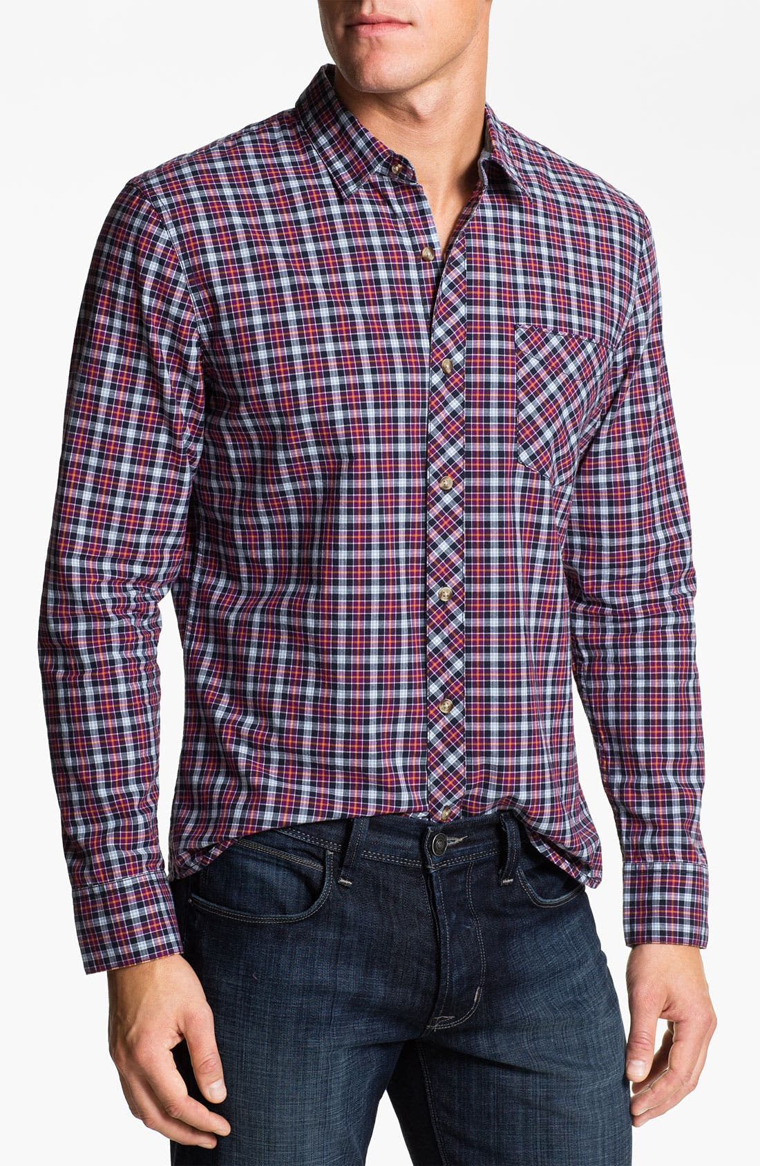 Alternate Image 1 Selected - 1901 Plaid Cotton Poplin Shirt