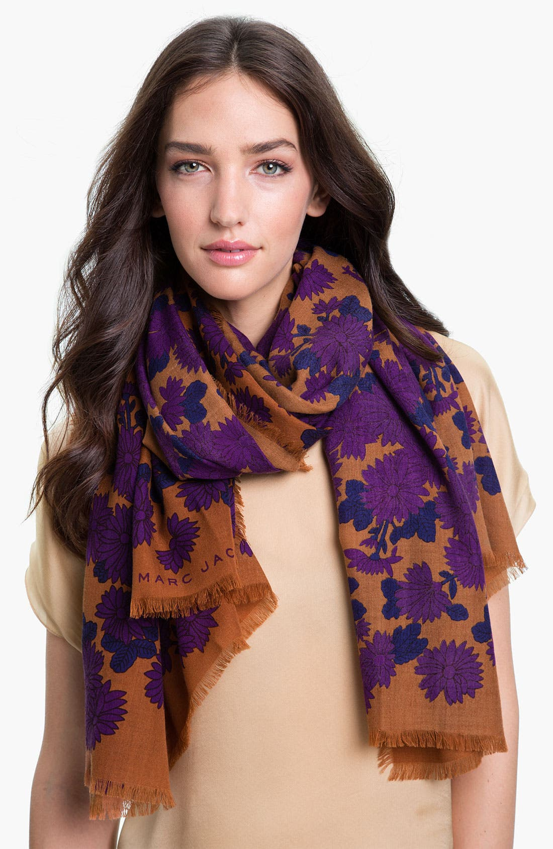 Alternate Image 1 Selected - MARC BY MARC JACOBS 'Onyx Floral' Wool Scarf