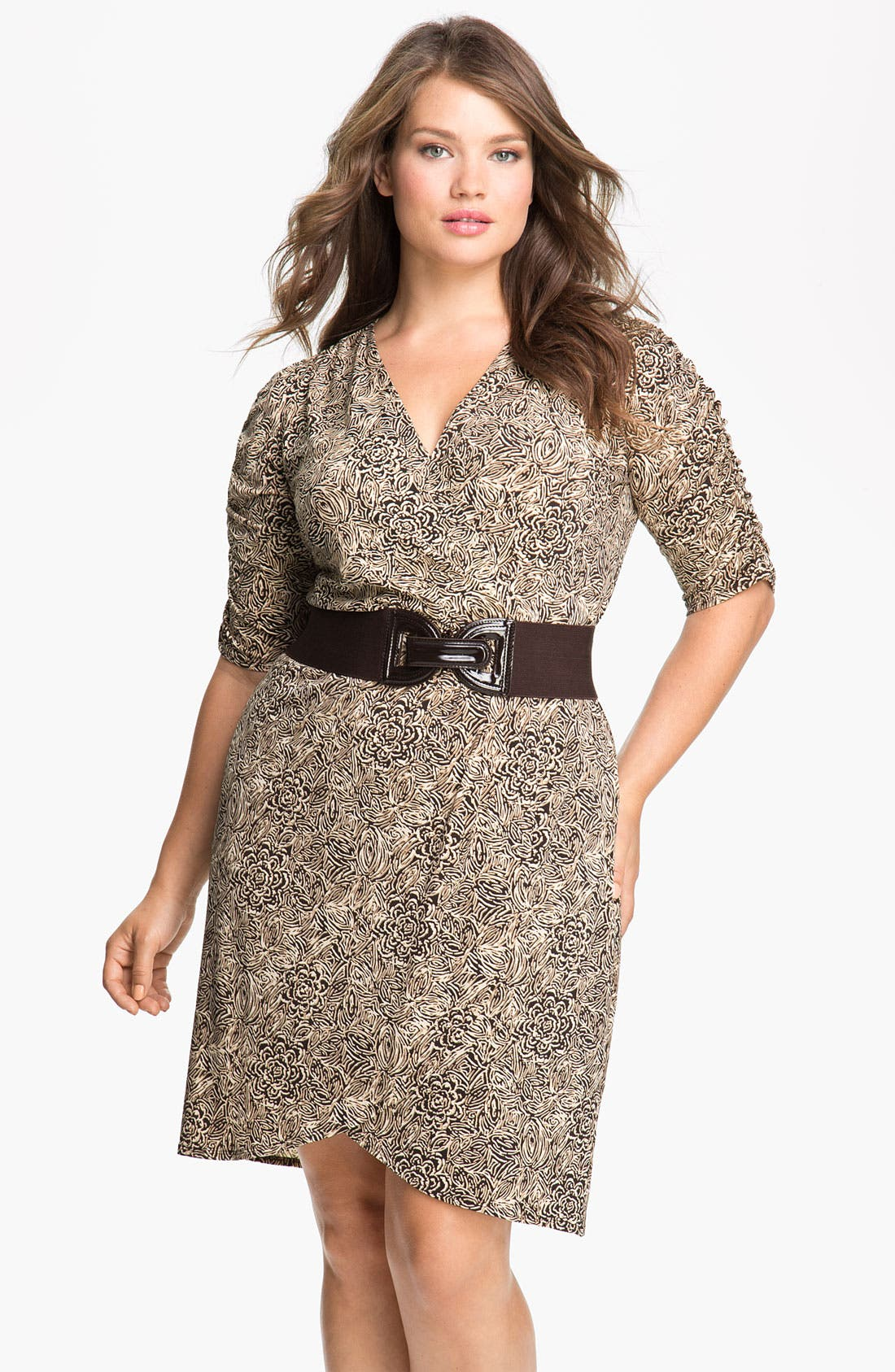 Alternate Image 1 Selected - Eliza J Belted Faux Wrap Dress (Plus)