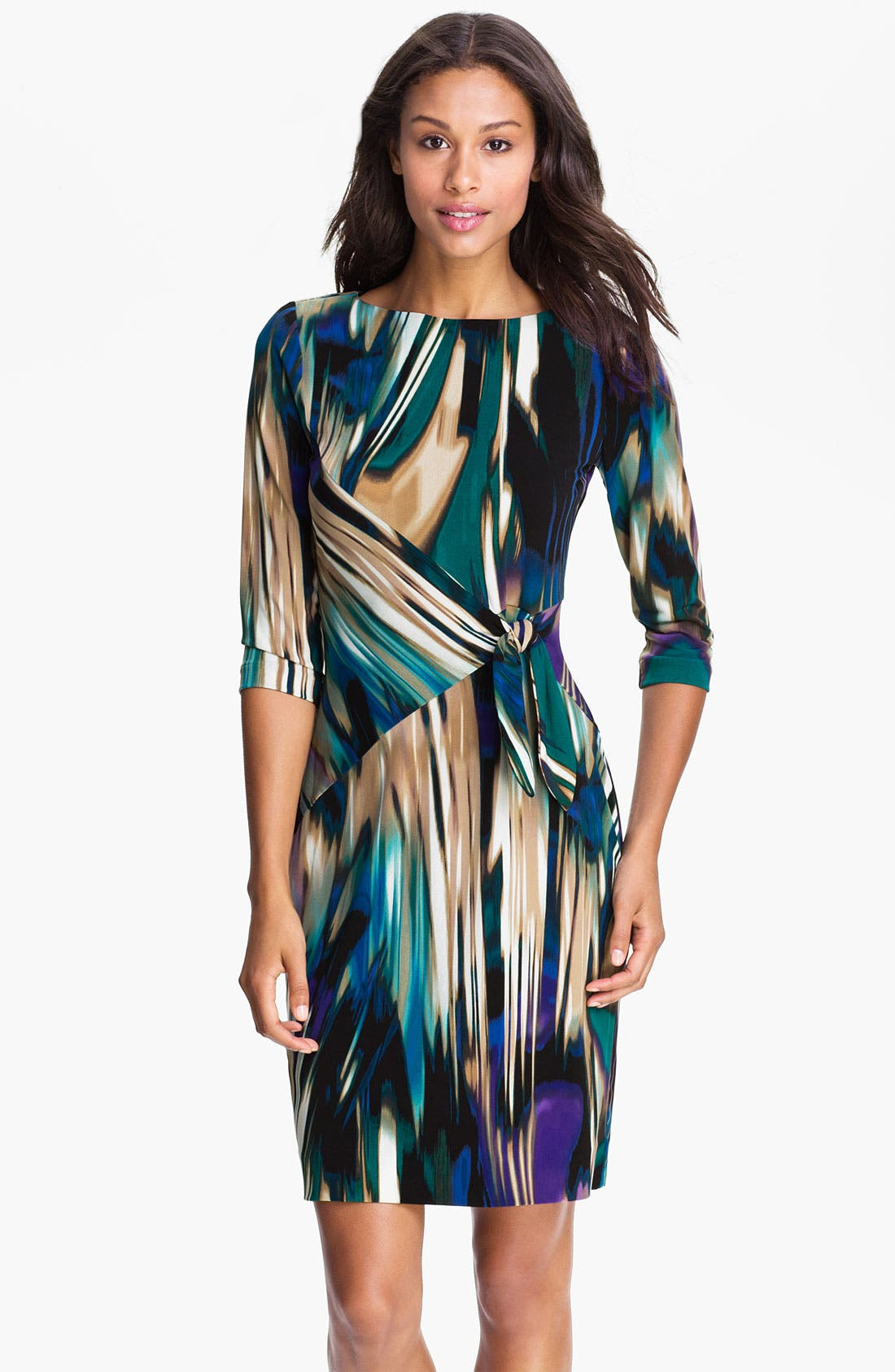 Alternate Image 1 Selected - Calvin Klein Printed Side Tie Jersey Dress