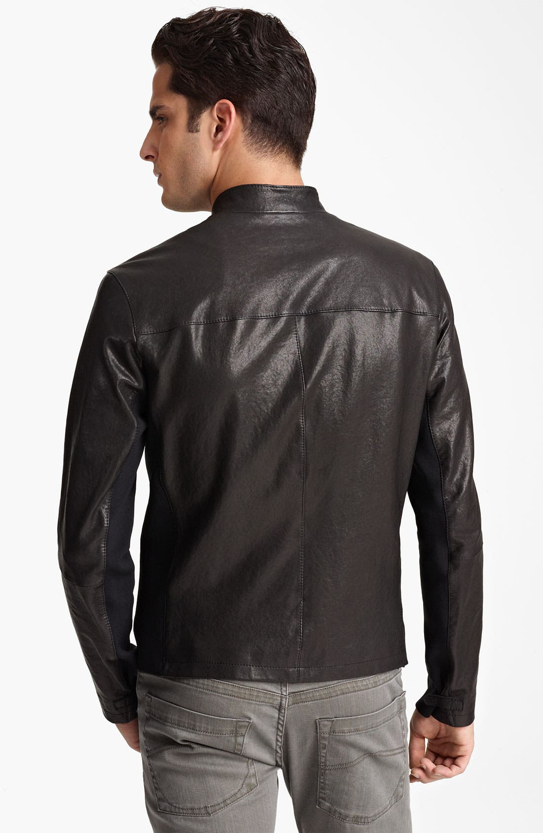 Alternate Image 2  - Armani Collezioni Leather Moto Jacket