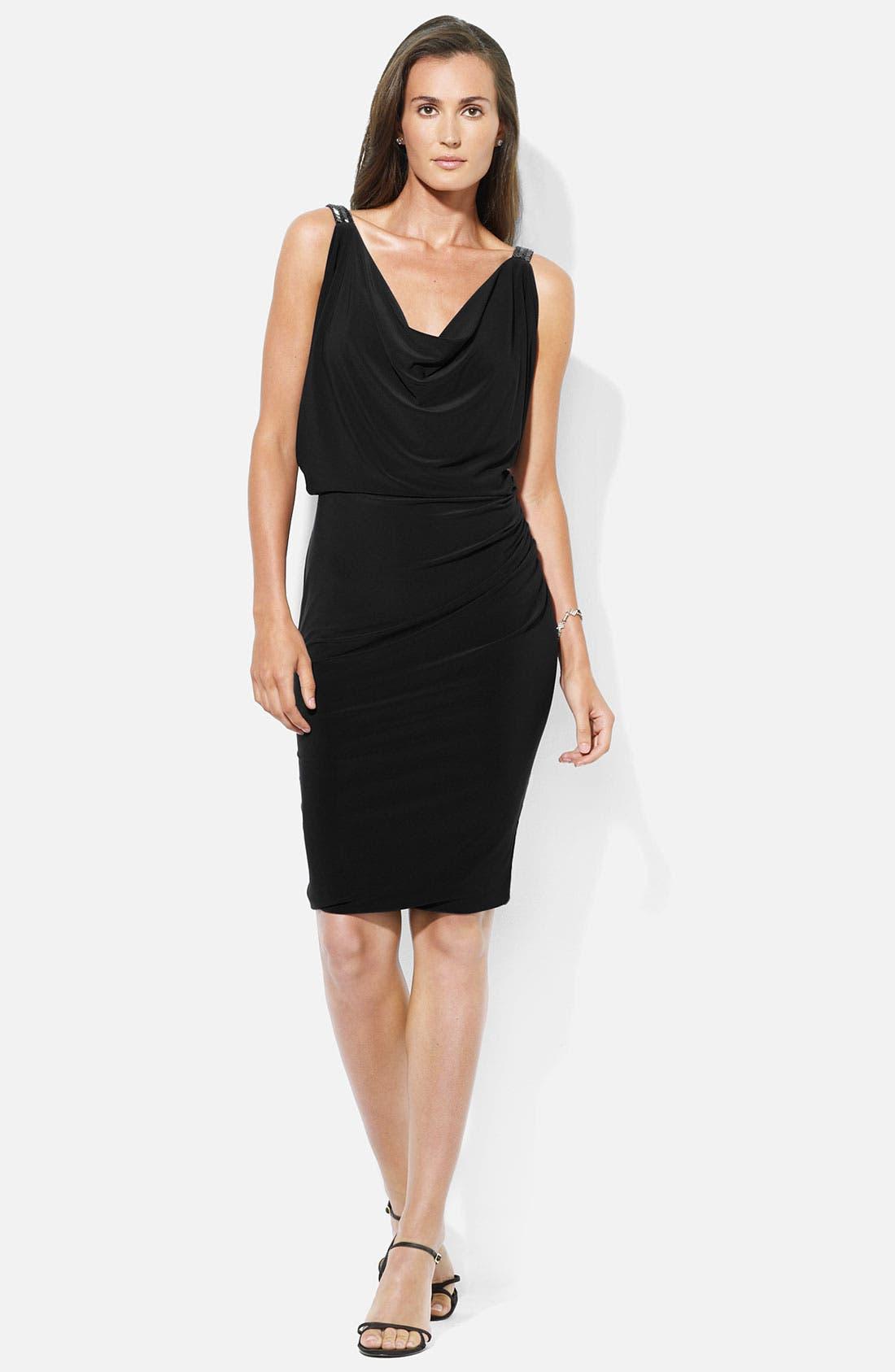Main Image - Lauren Ralph Lauren Cowl Neck Jersey Blouson Dress