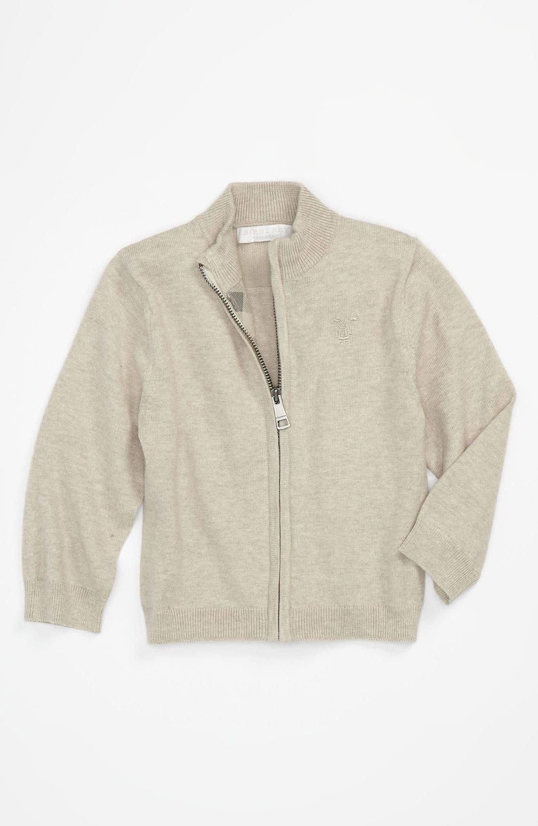 Alternate Image 1 Selected - Burberry Zip Cardigan (Infant)