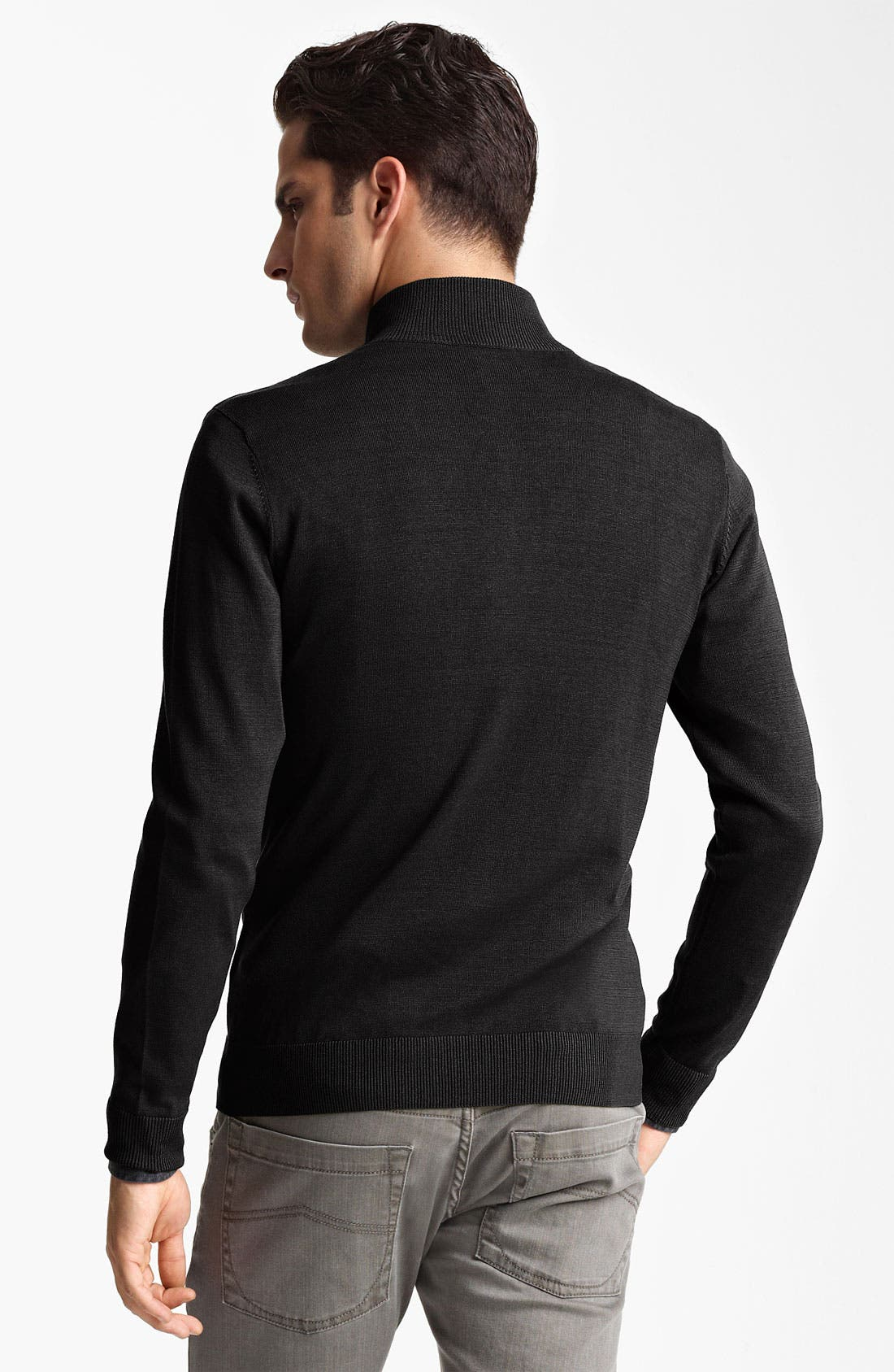 Alternate Image 2  - Armani Collezioni Silk & Cotton Zip Sweater