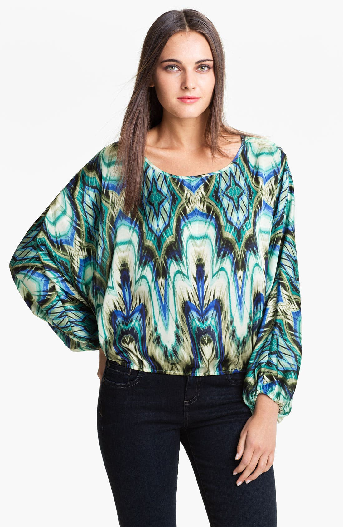 Alternate Image 1 Selected - Vince Camuto Abstract Print Peasant Blouse
