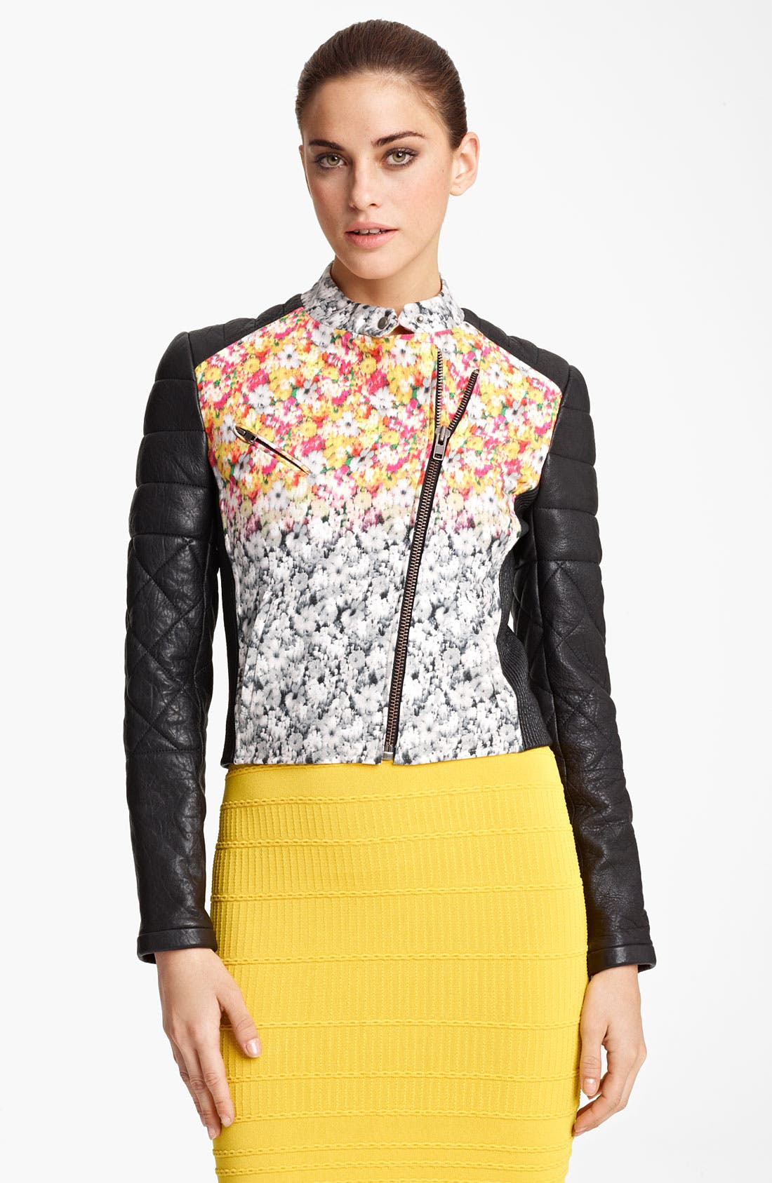 Alternate Image 1 Selected - Yigal Azrouël Leather & Floral Ikat Print Jacket