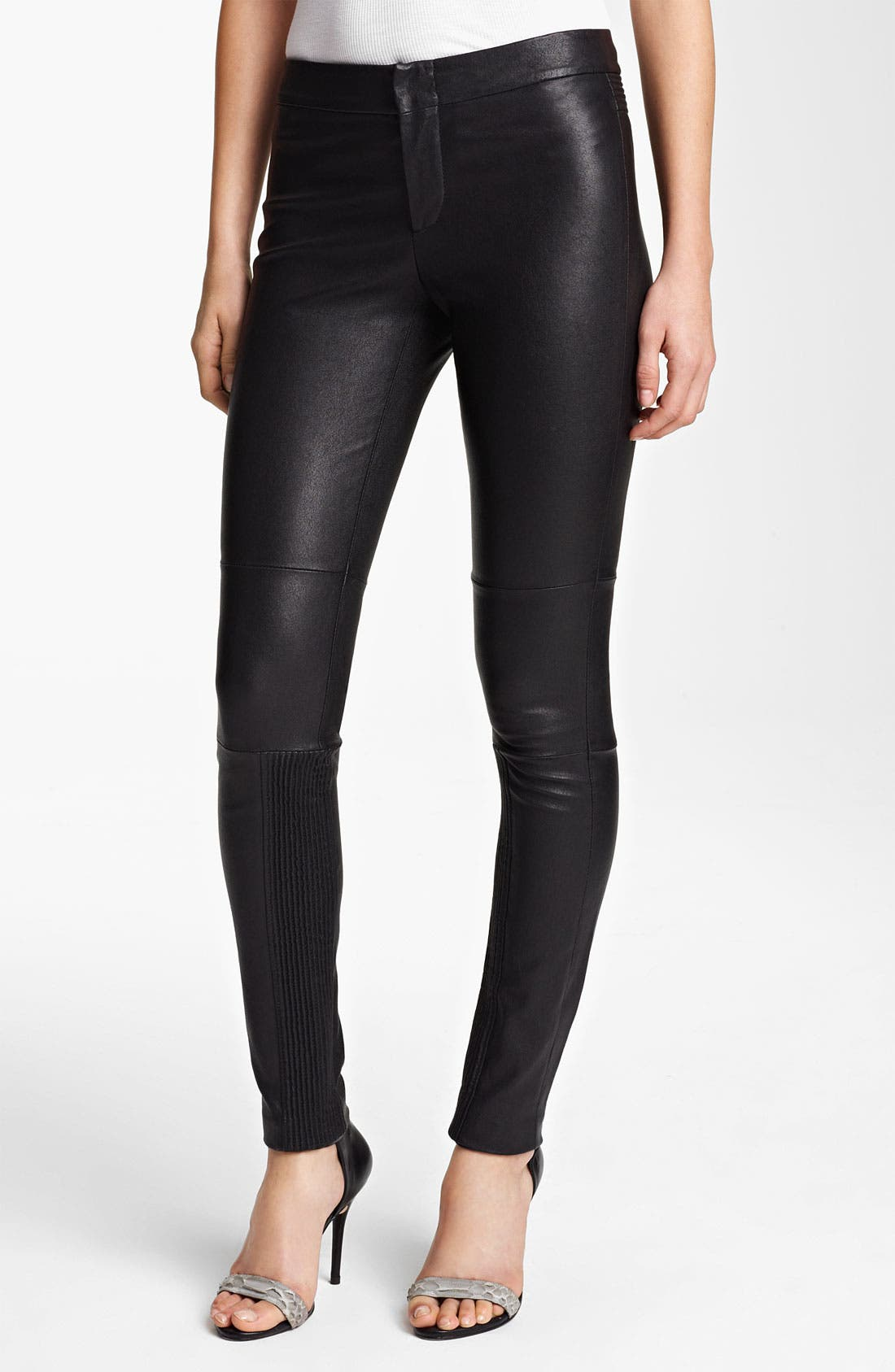 Alternate Image 1 Selected - Yigal Azrouël Stretch Leather Leggings