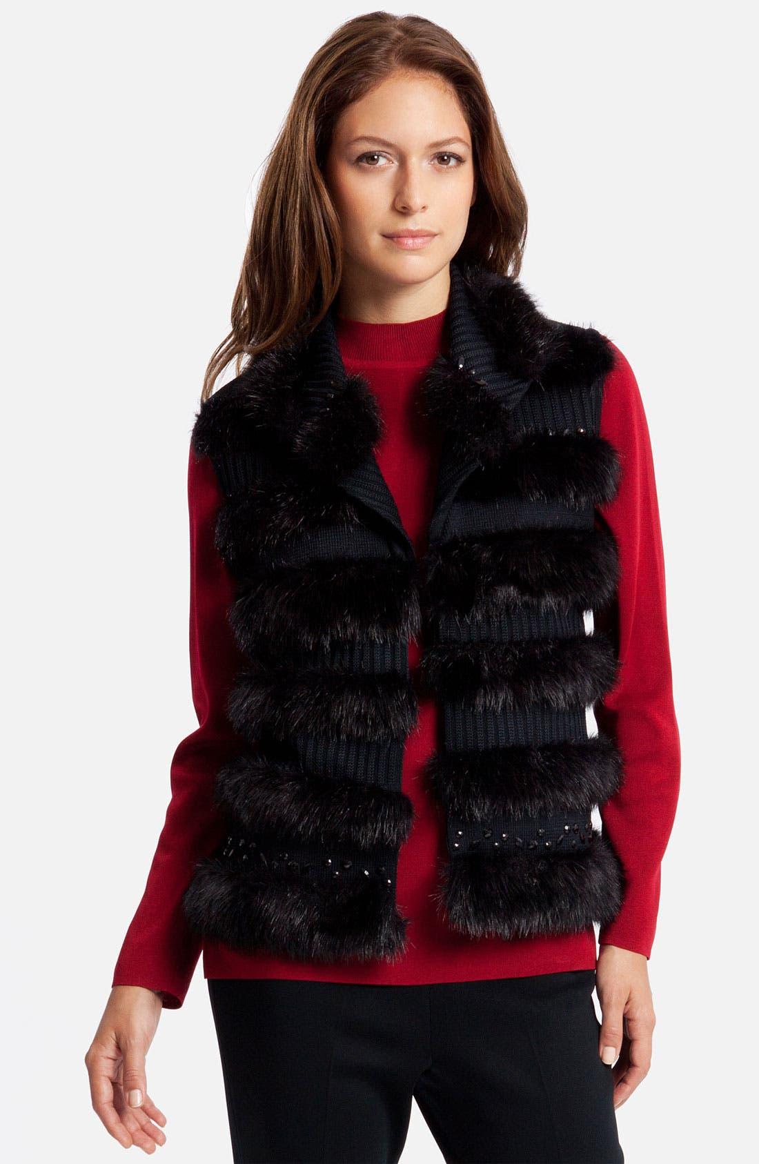 Main Image - Ming Wang Knit & Faux Fur Vest