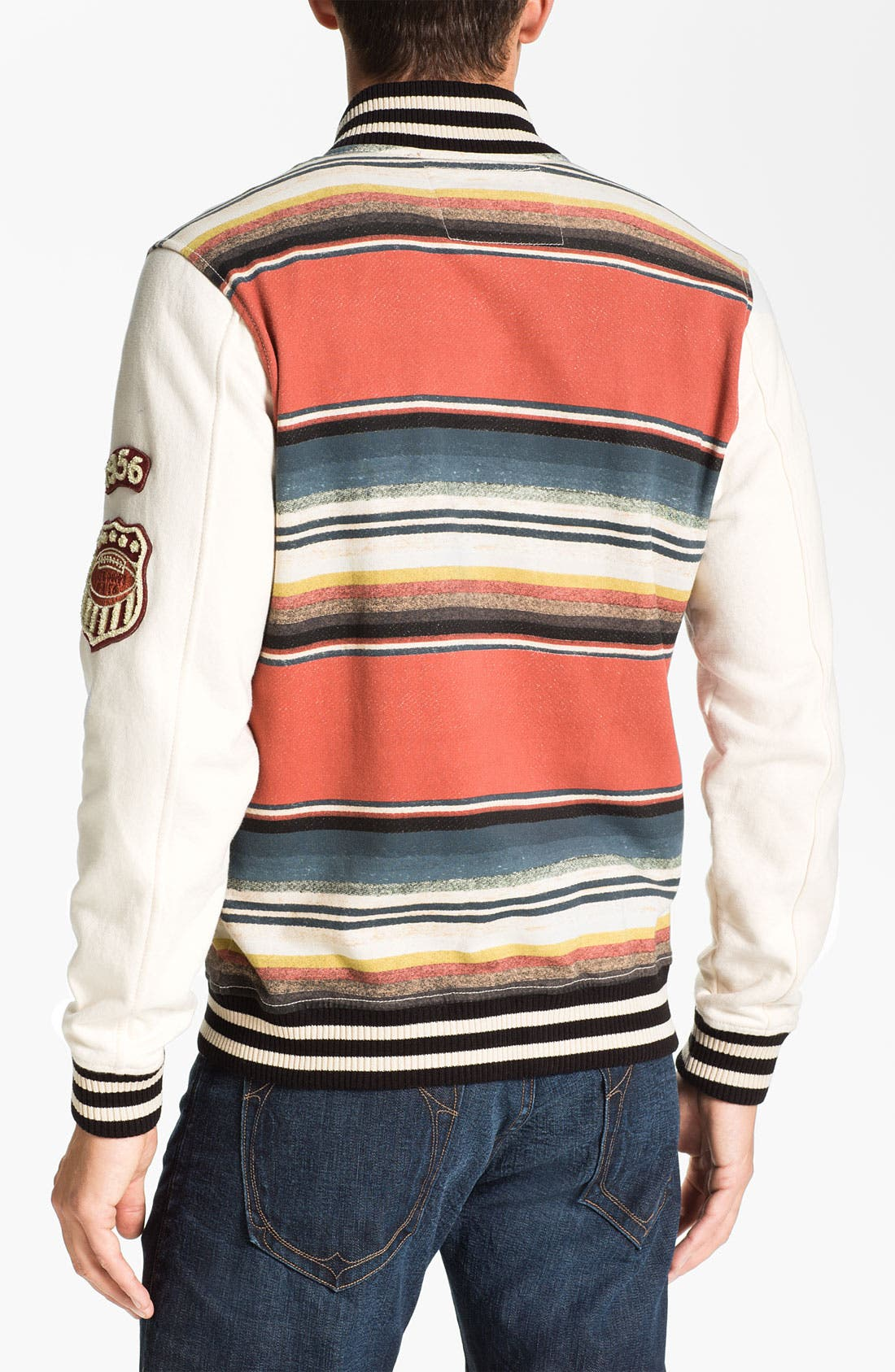 Alternate Image 2  - True Religion Brand Jeans Stripe Print Varsity Jacket