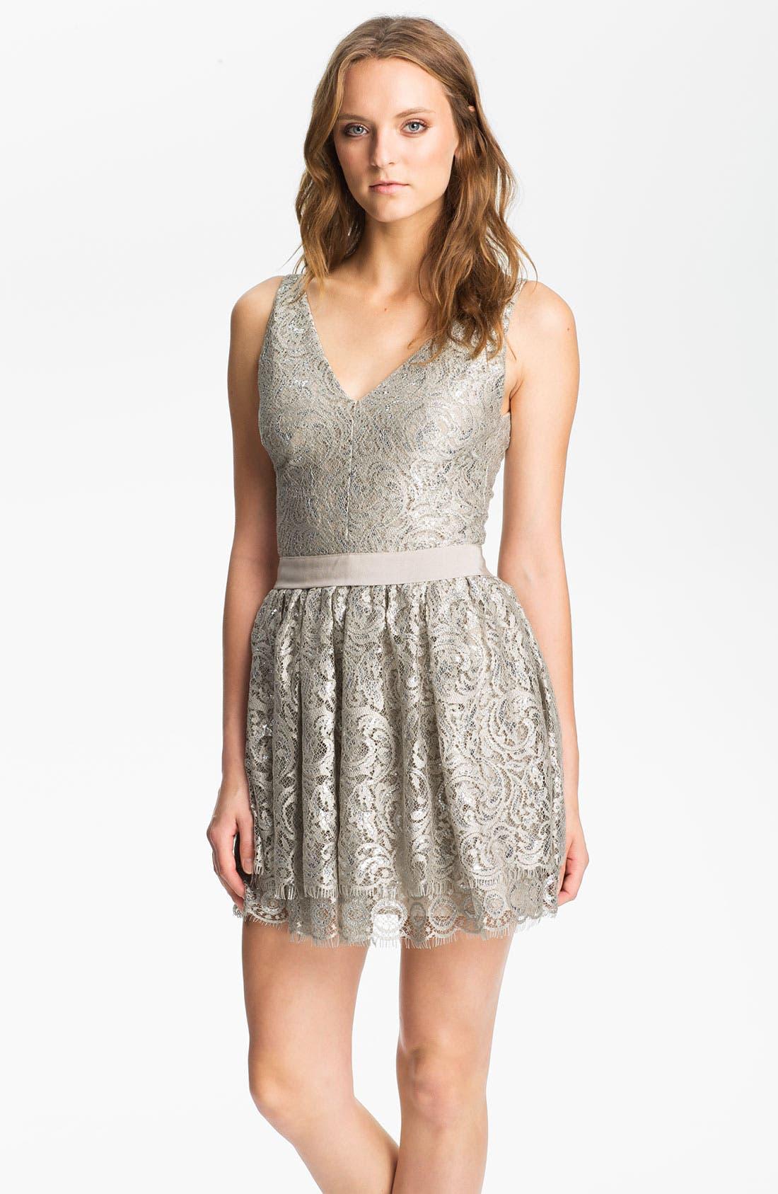 Main Image - Robert Rodriguez Tiered Metallic Lace Minidress