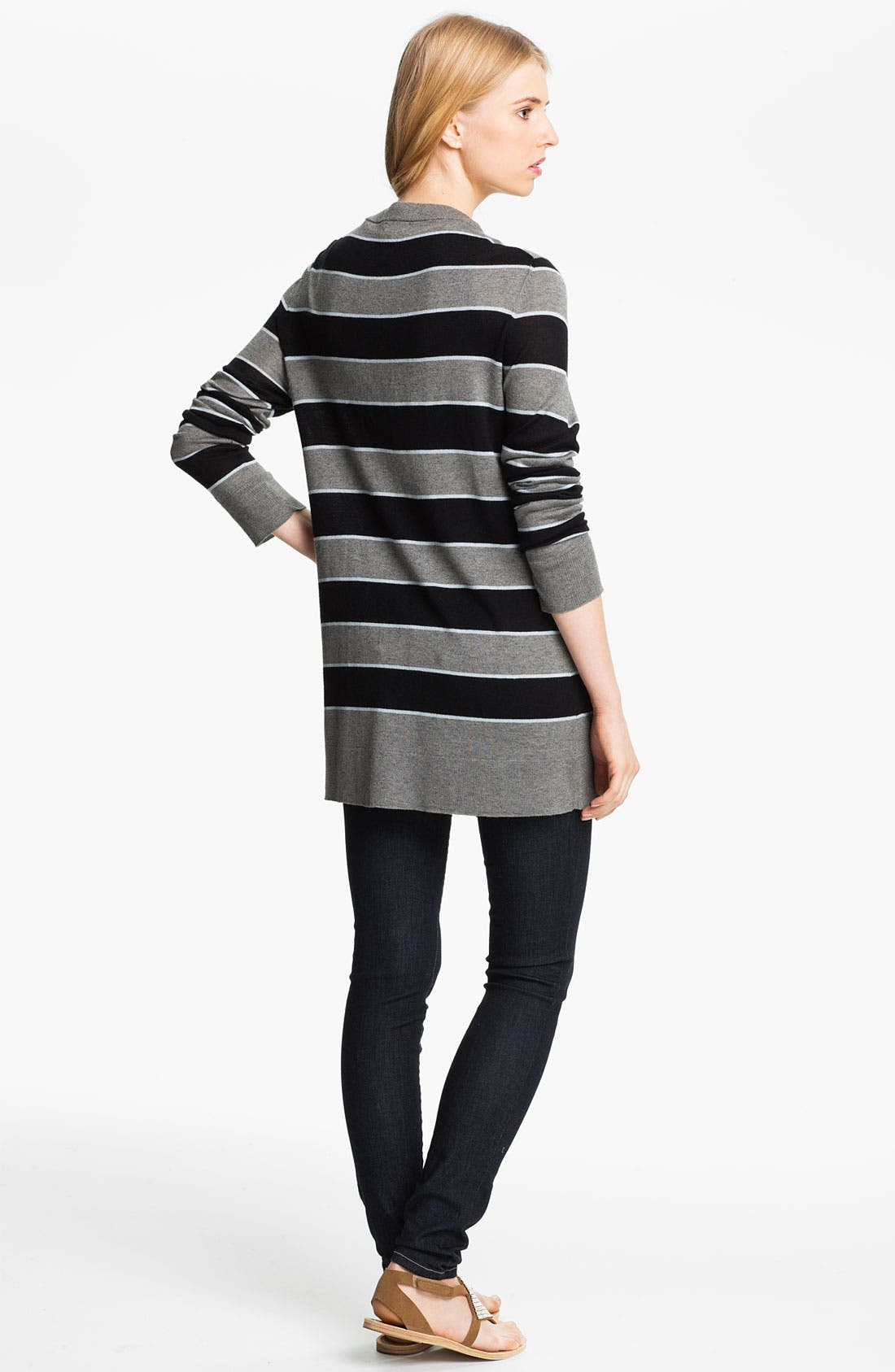 Alternate Image 2  - L'AGENCE Stripe Silk & Cashmere Cardigan