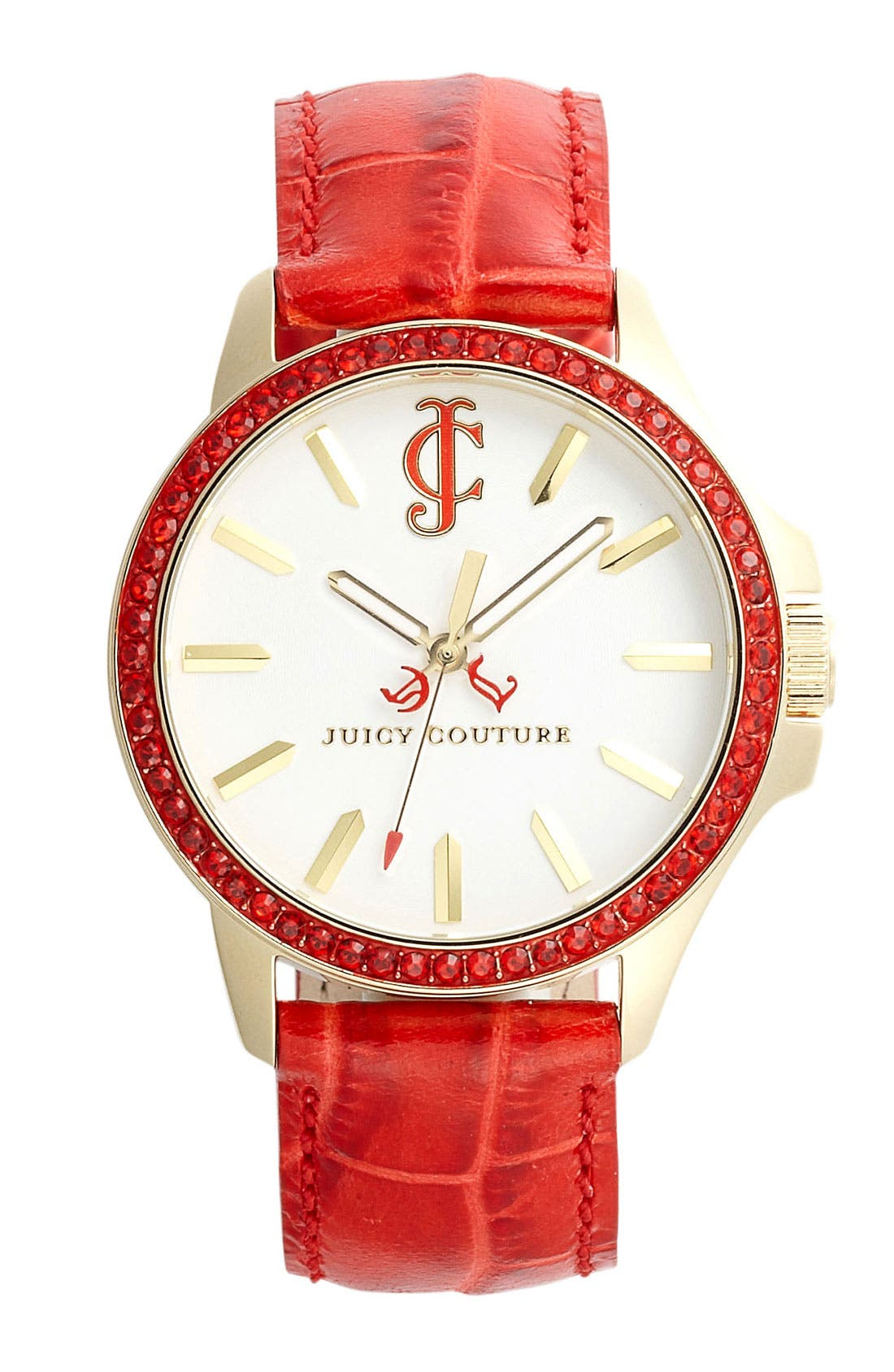 Main Image - Juicy Couture 'Jet Setter' Round Leather Strap Watch, 38mm