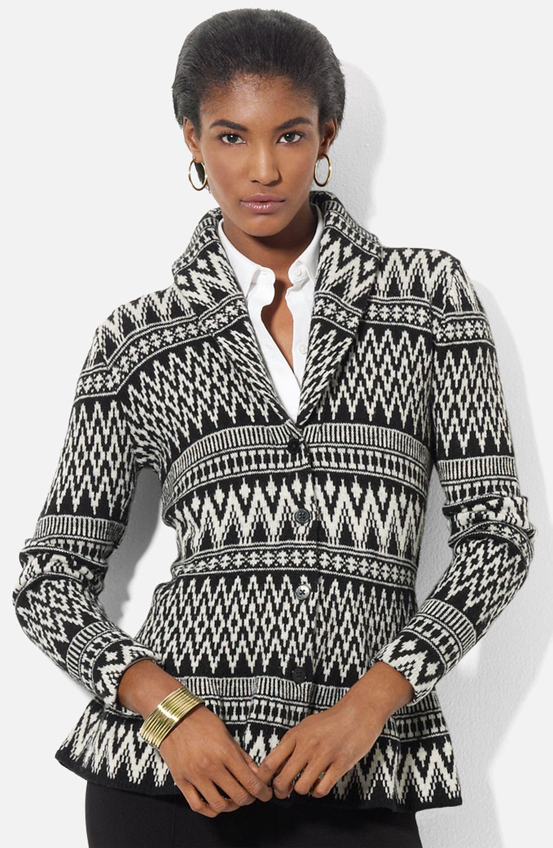 Alternate Image 1 Selected - Lauren Ralph Lauren Shawl Collar Fair Isle Cardigan (Petite) (Online Exclusive)