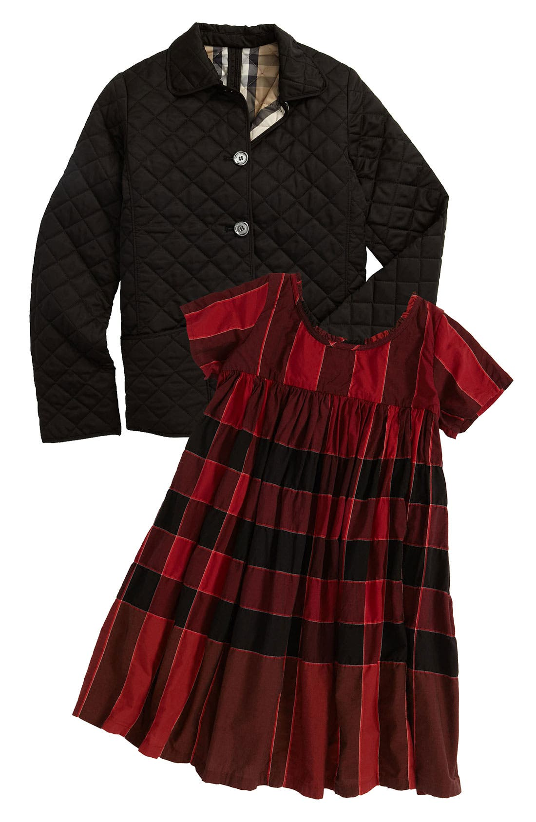 Alternate Image 2  - Burberry Quilted Check Trim Coat (Little Girls & Big Girls)