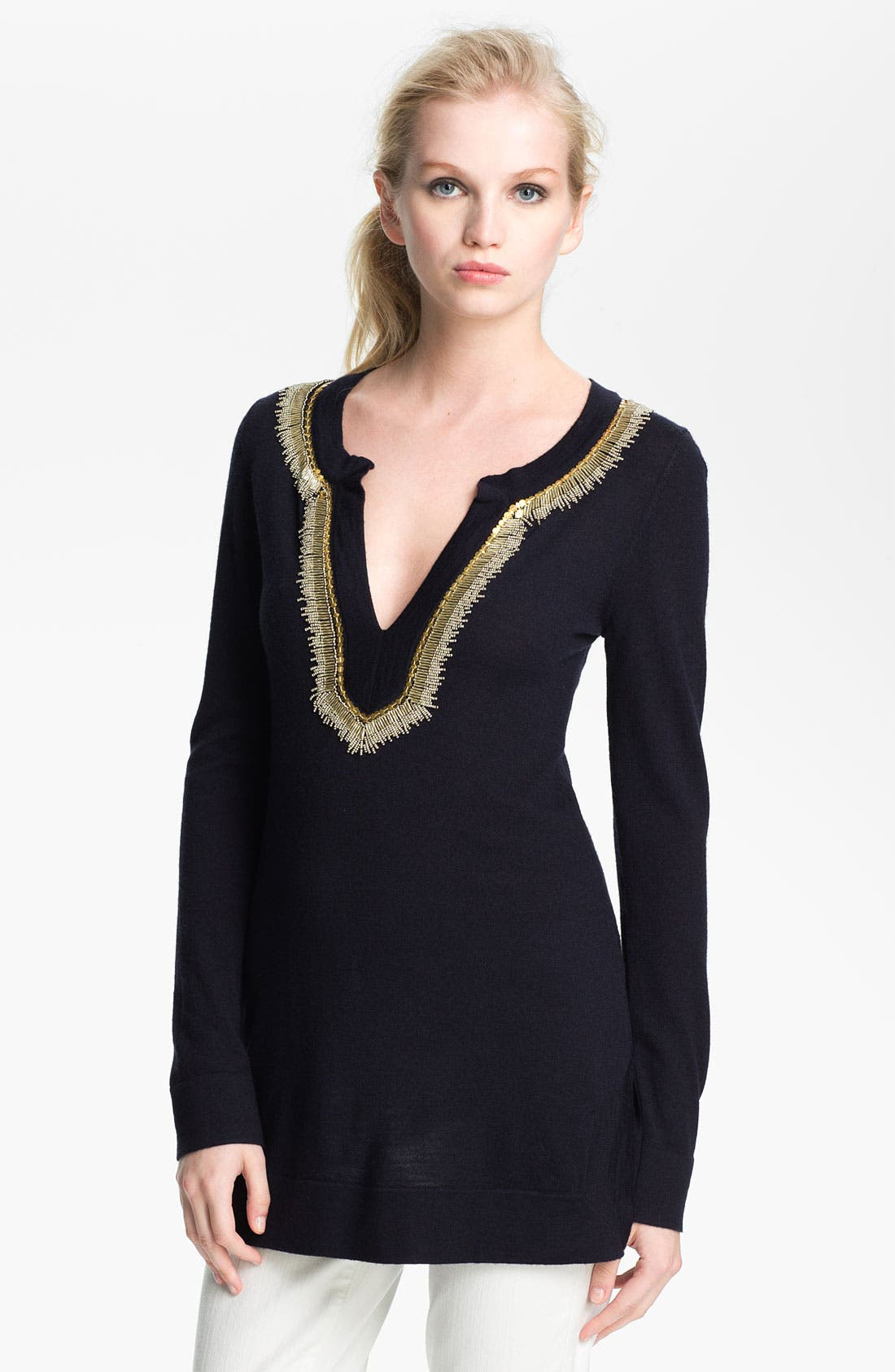 Main Image - Tory Burch 'Dove' Merino Wool Tunic