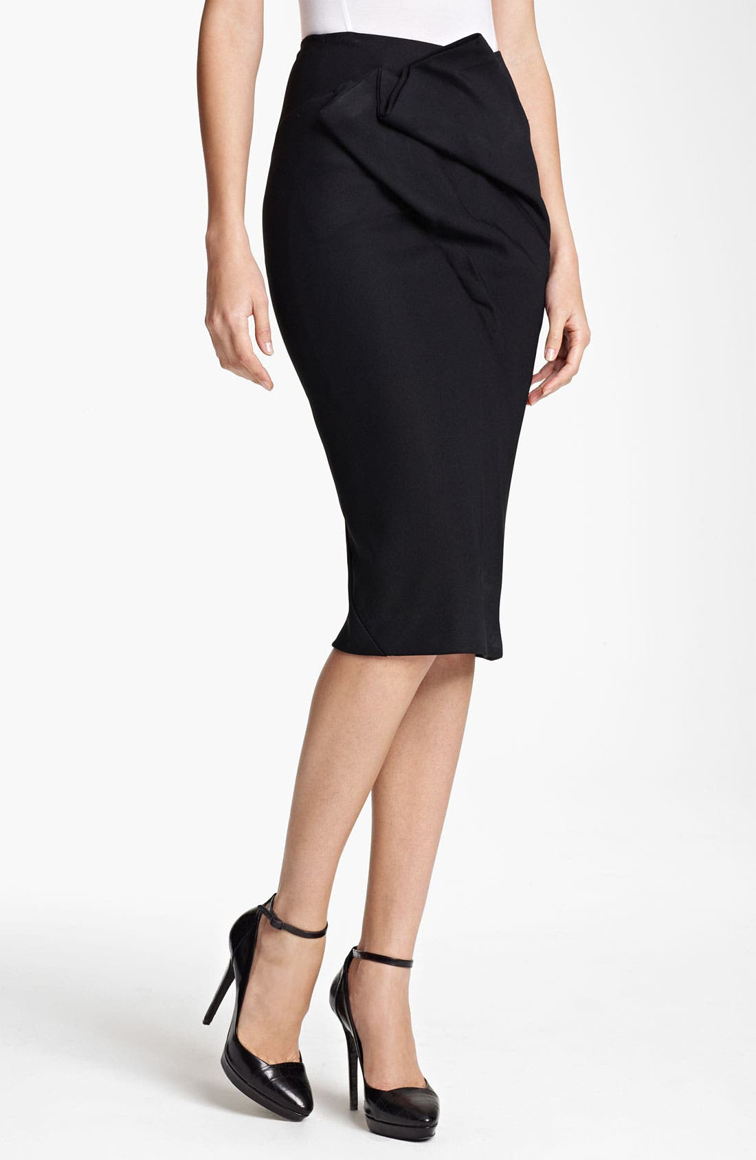 Main Image - Donna Karan Collection Draped Double Knit Skirt