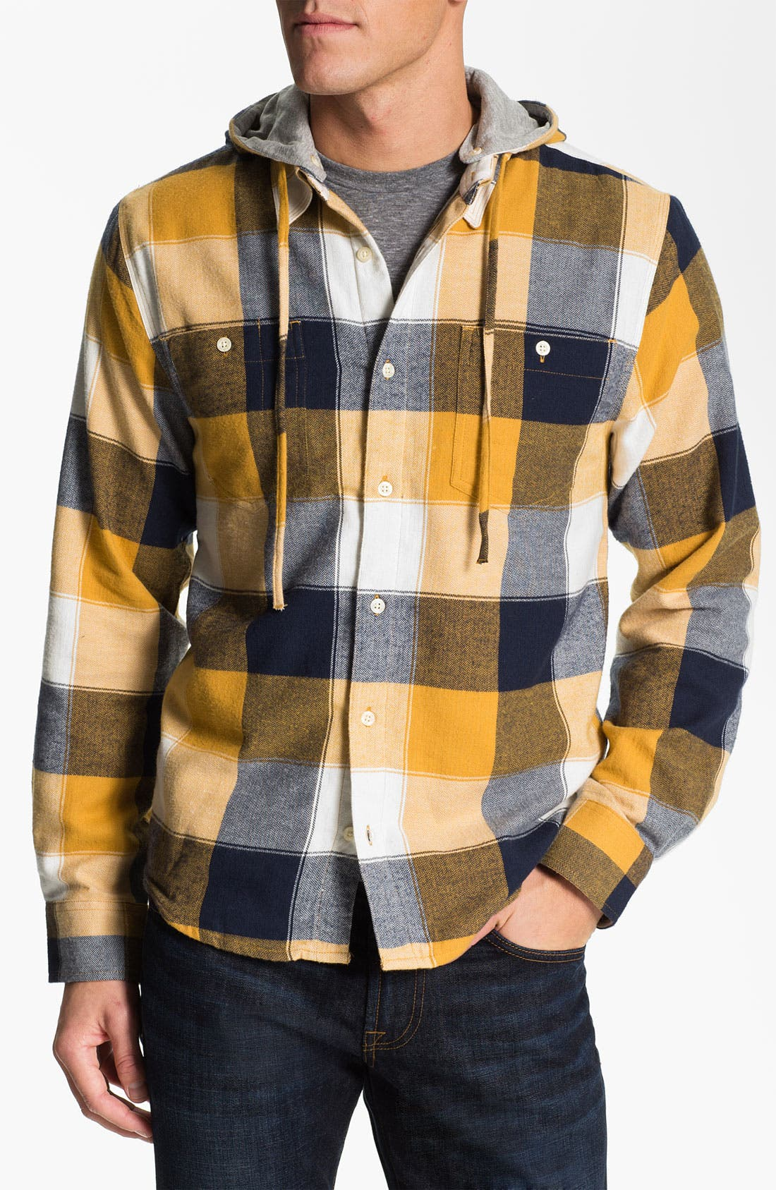 Main Image - Threads for Thought Chevron Check Flannel Shirt with Removable Hood