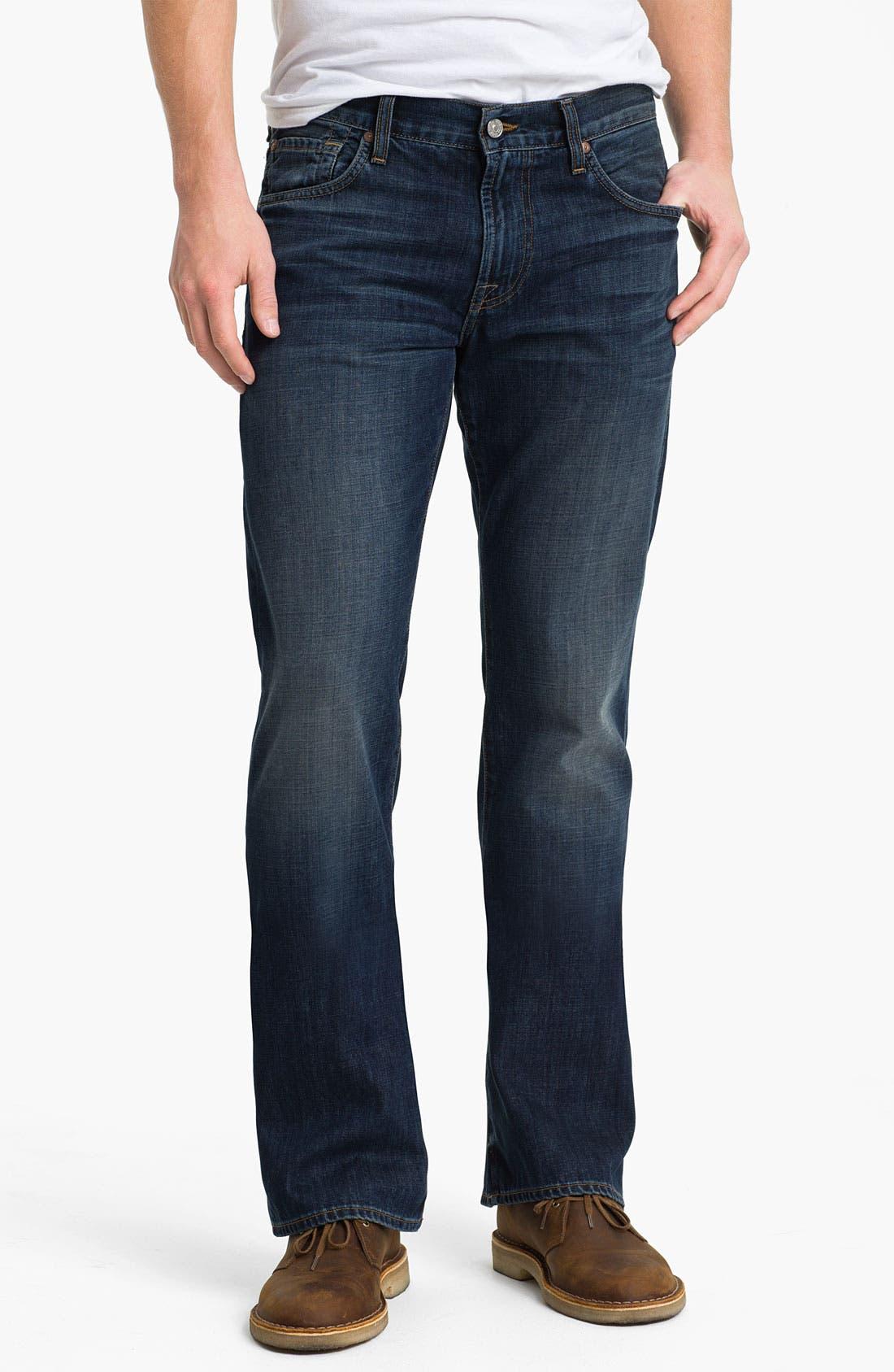 Alternate Image 2  - 7 For All Mankind® 'Brett' Bootcut Jeans (Worn Blue)