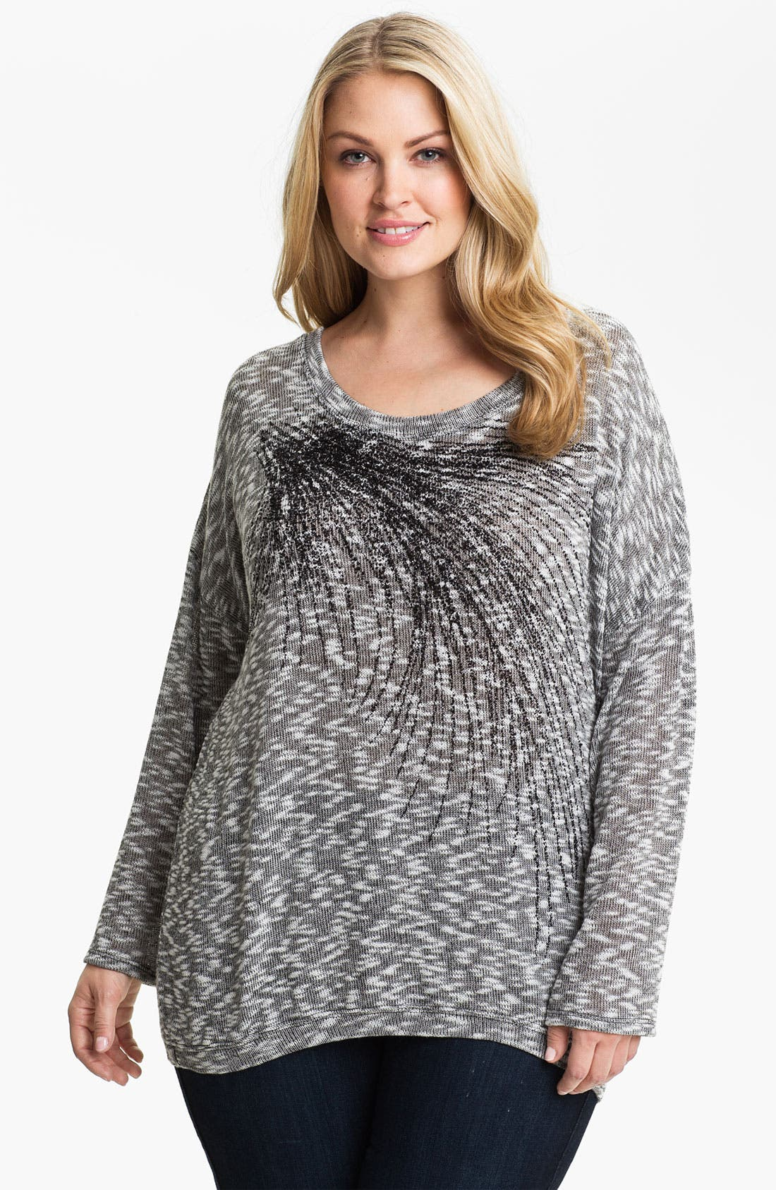 Main Image - Madison & Berkeley Beaded Space Dye Sweater (Plus)