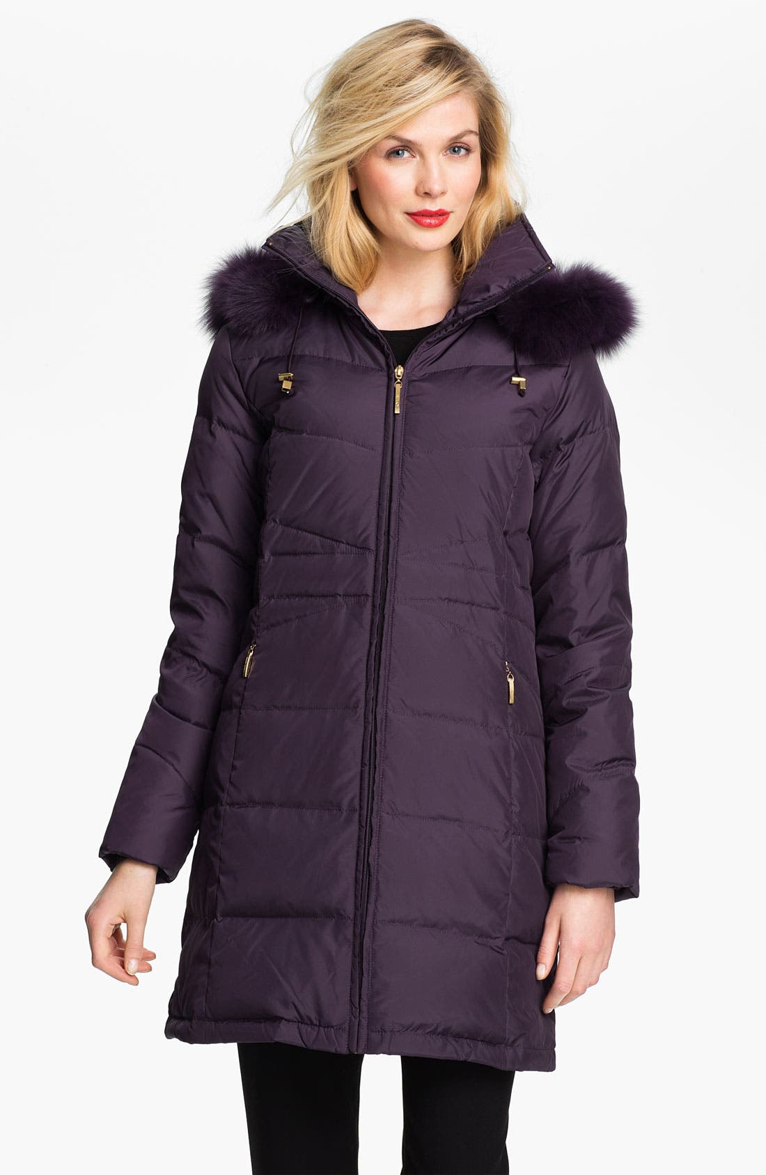 Main Image - Ellen Tracy Genuine Fox Fur Trim Down Coat (Nordstrom Exclusive)