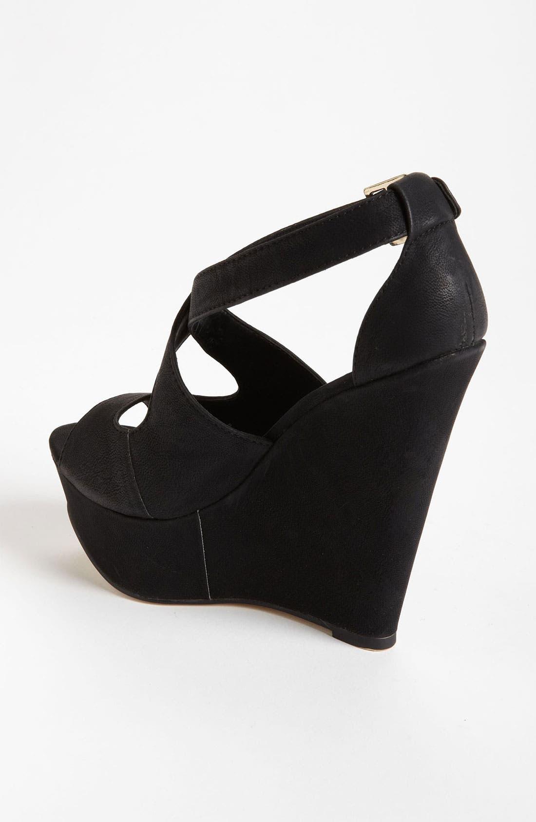 'Xternal' Wedge Sandal,                             Alternate thumbnail 2, color,                             Black
