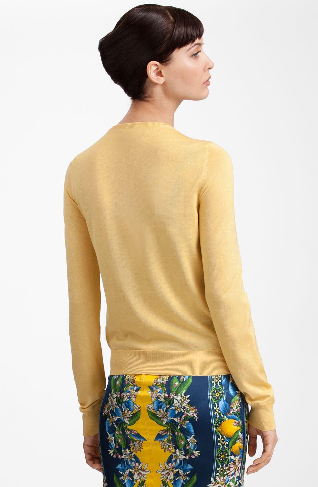 Alternate Image 2  - Dolce&Gabbana Dot & Rose Print Silk Knit Cardigan