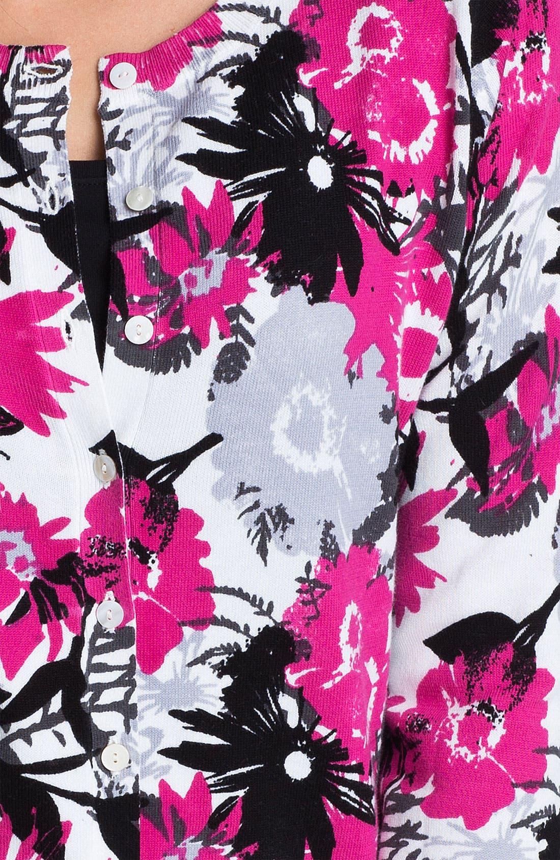 Alternate Image 3  - Foxcroft 'Large Flower' Cardigan