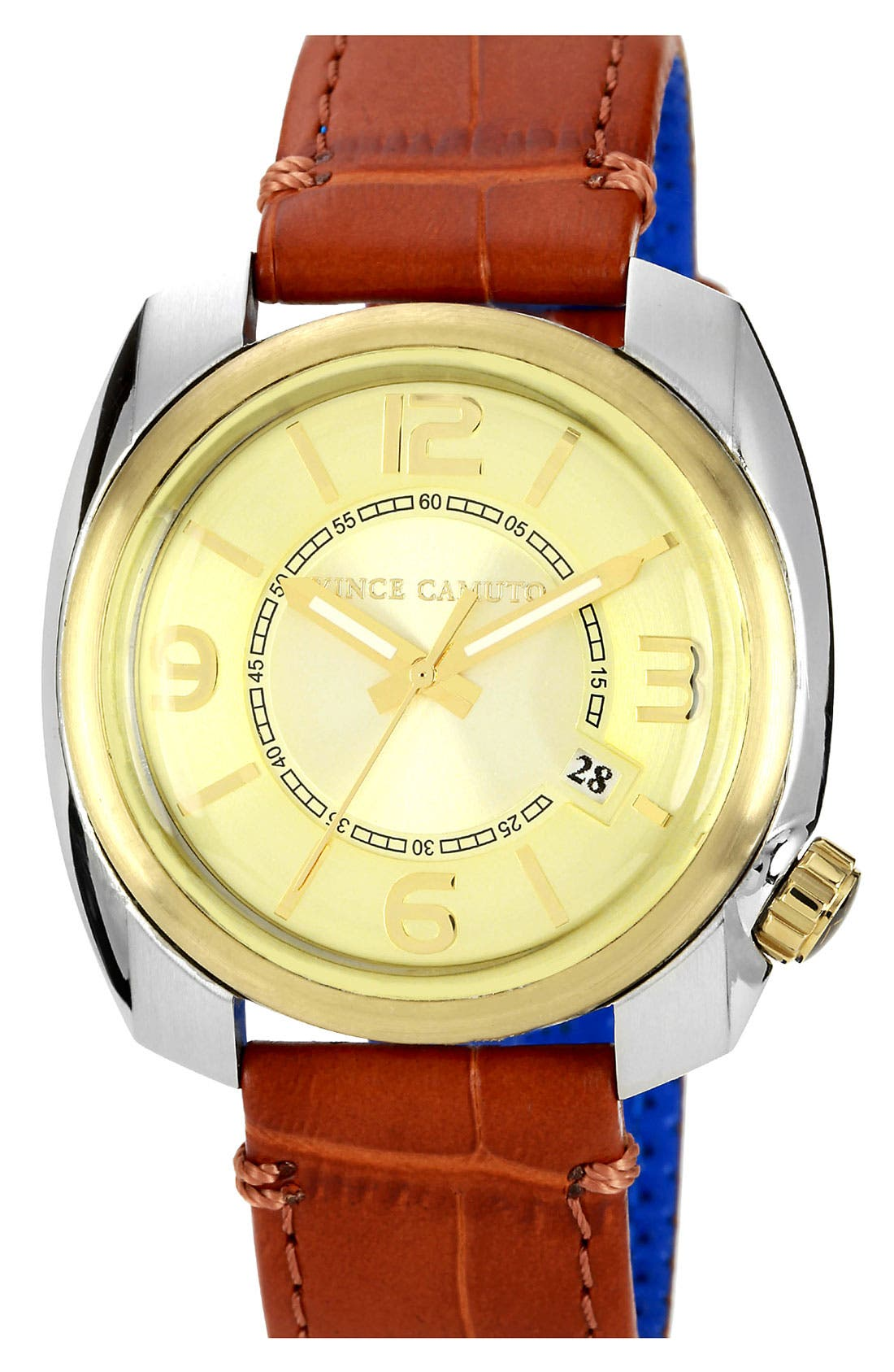 Main Image - Vince Camuto Square Case Leather Strap Watch, 42mm