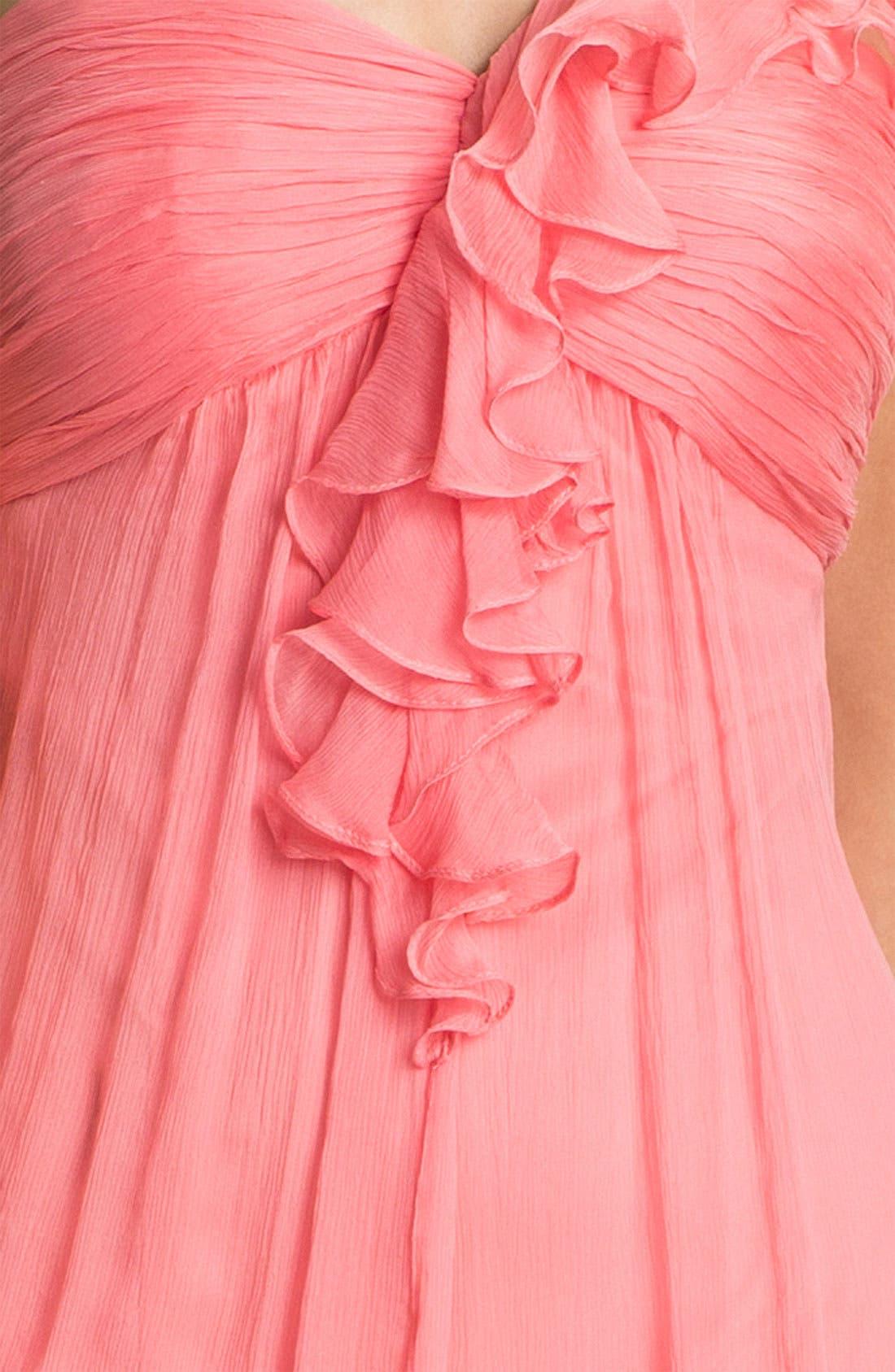 Alternate Image 3  - Amsale One Shoulder Ruffle Silk Chiffon Dress