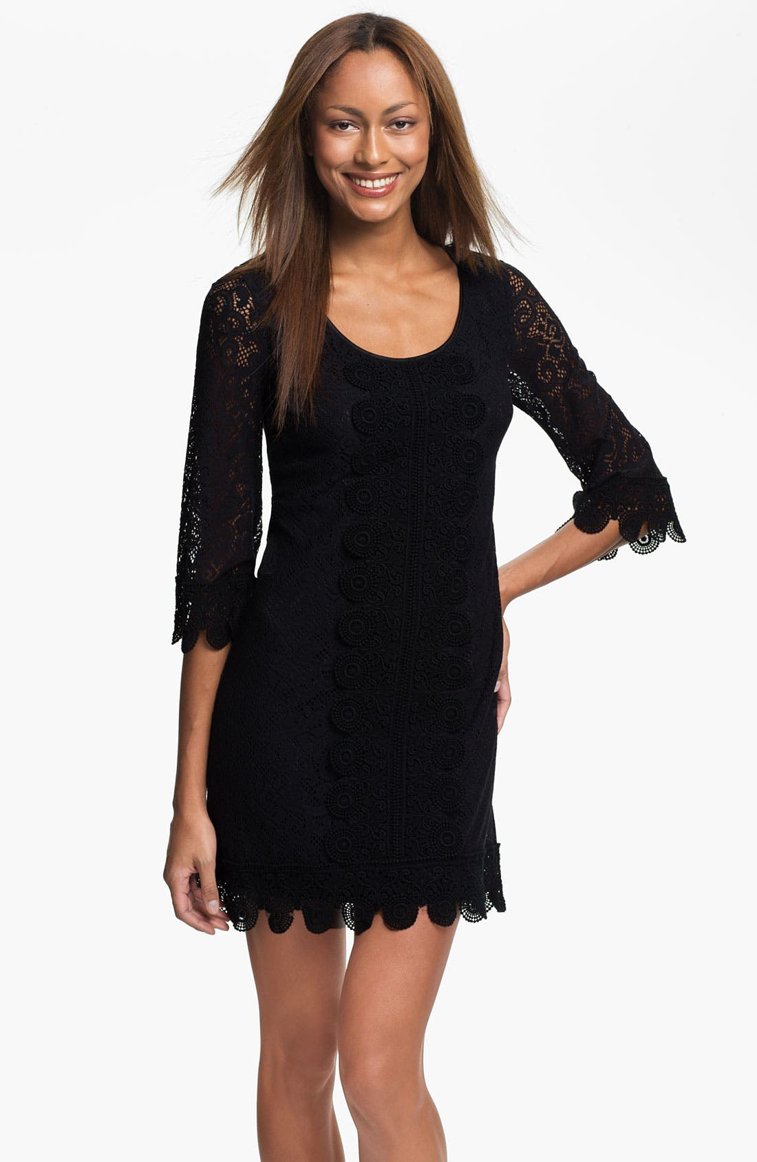 Alternate Image 1 Selected - Laundry by Shelli Segal Lace Overlay Shift Dress