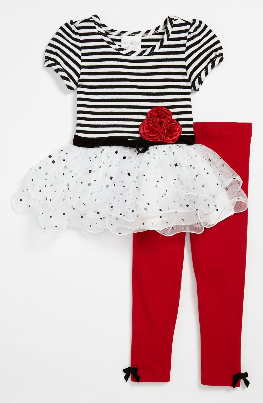 Main Image - Iris & Ivy Stripe Dress & Leggings (Toddler)