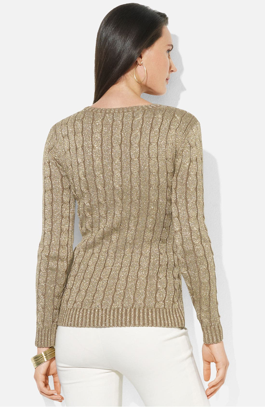 Alternate Image 2  - Lauren Ralph Lauren Shimmer Cable Knit Sweater