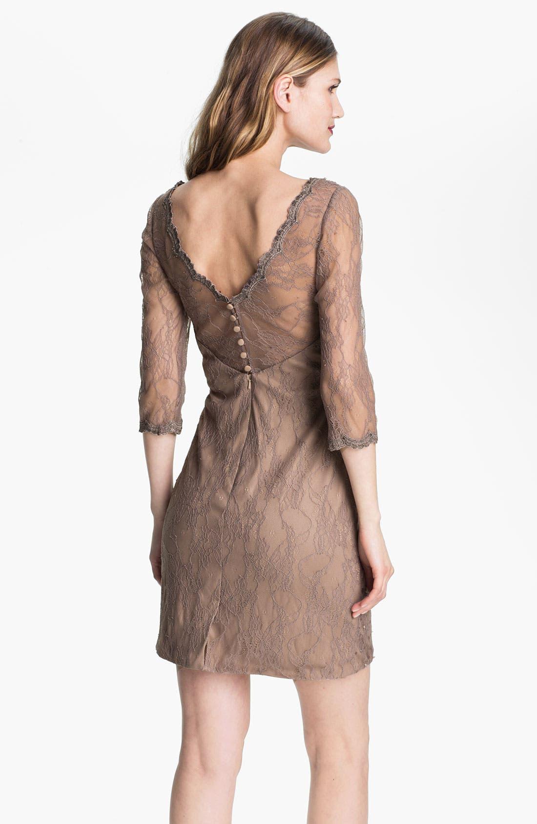 Alternate Image 2  - Kathy Hilton Double V-Neck Embellished Lace Sheath Dress