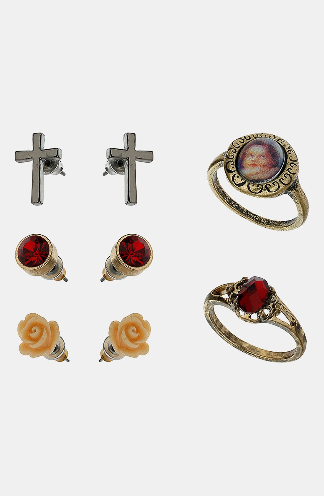 Main Image - Topshop 'Ditsy Baroque' Assorted Earrings & Rings (Set of 5)