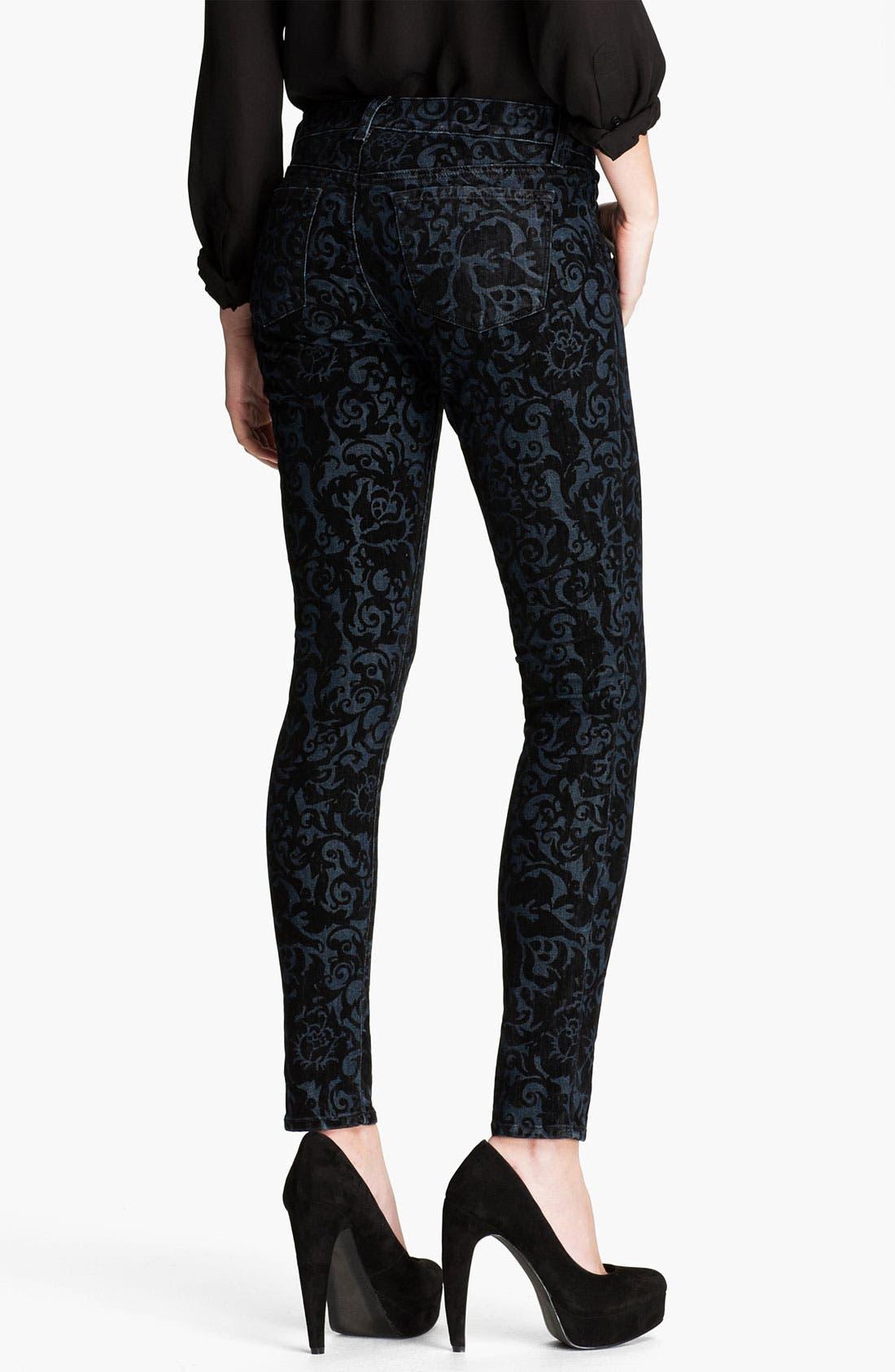 Alternate Image 2  - J Brand Brocade Print Stretch Denim Skinny Jeans