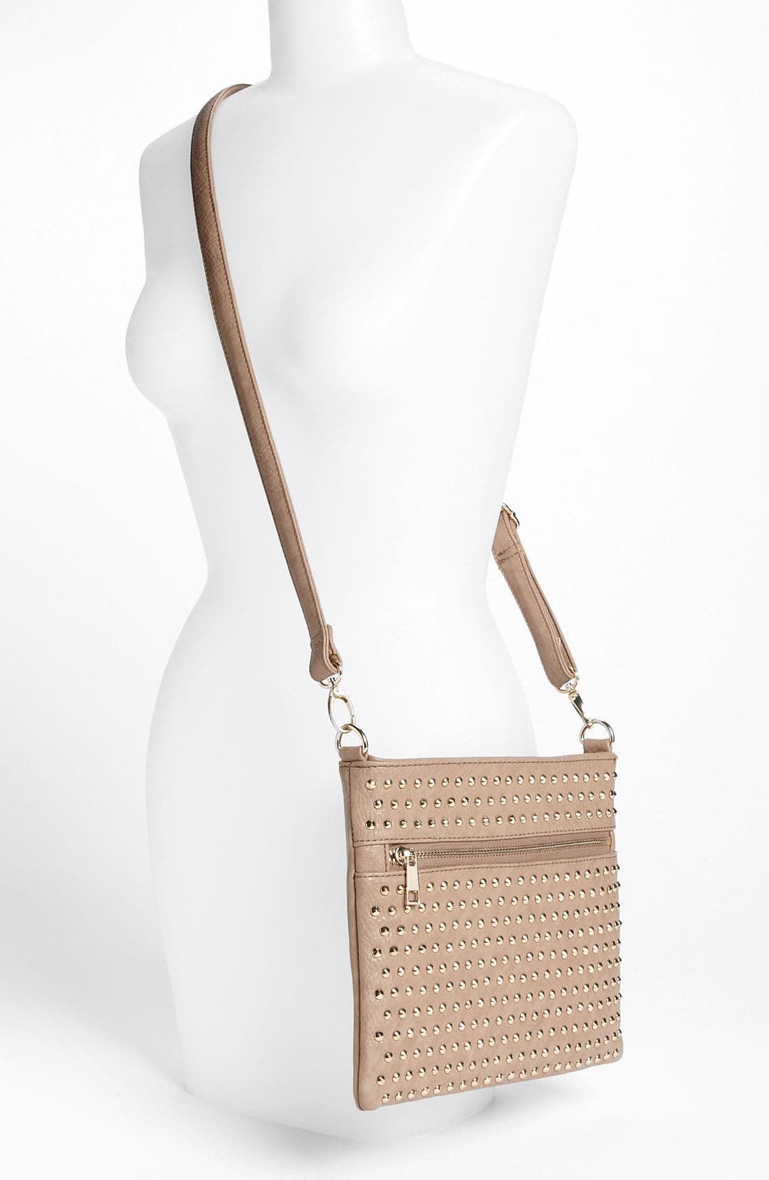 Studded Convertible Crossbody Bag,                             Alternate thumbnail 2, color,                             Taupe/ Gold