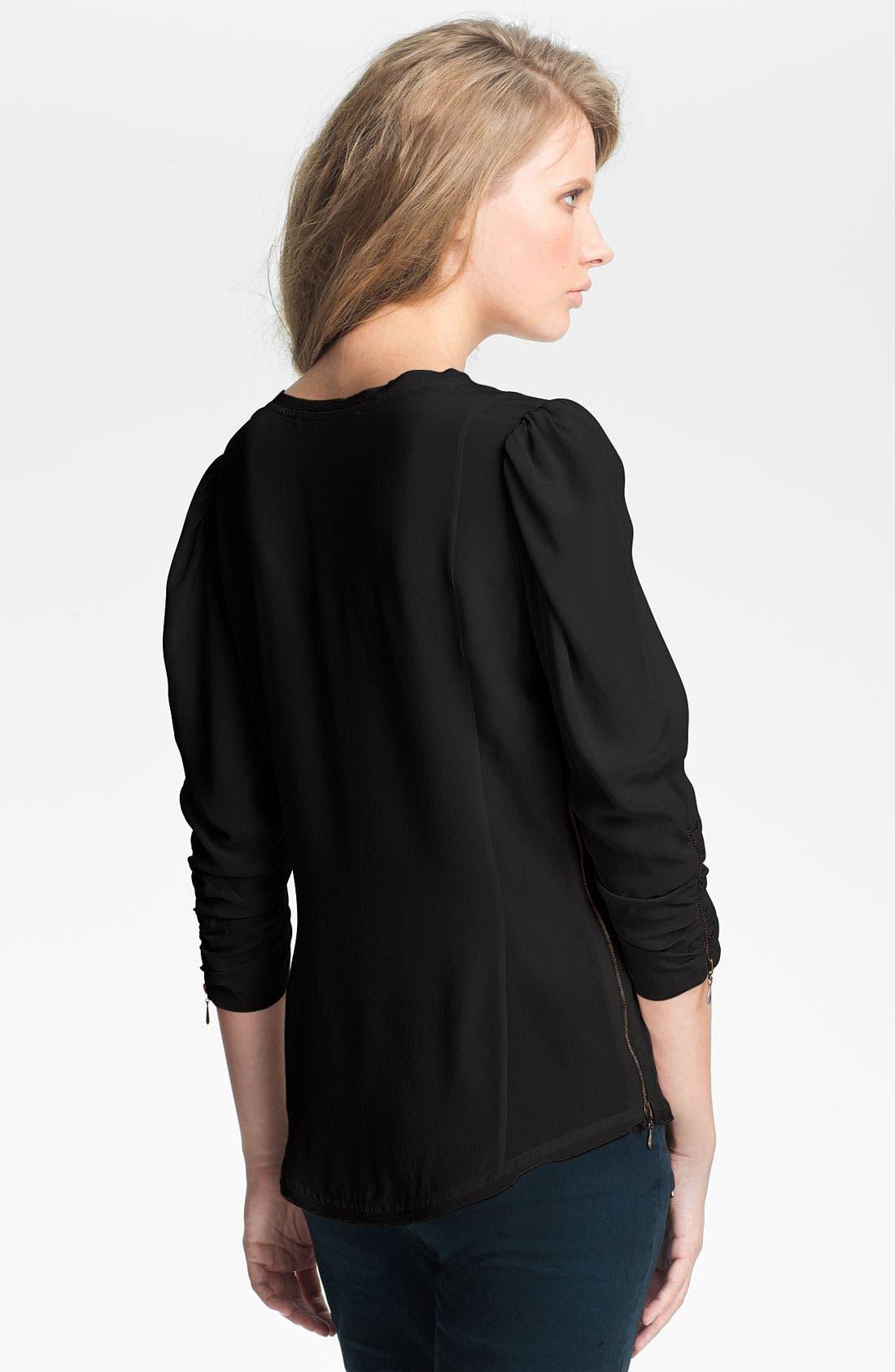 Alternate Image 2  - Skaist-Taylor Zip Detail Washed Silk Top