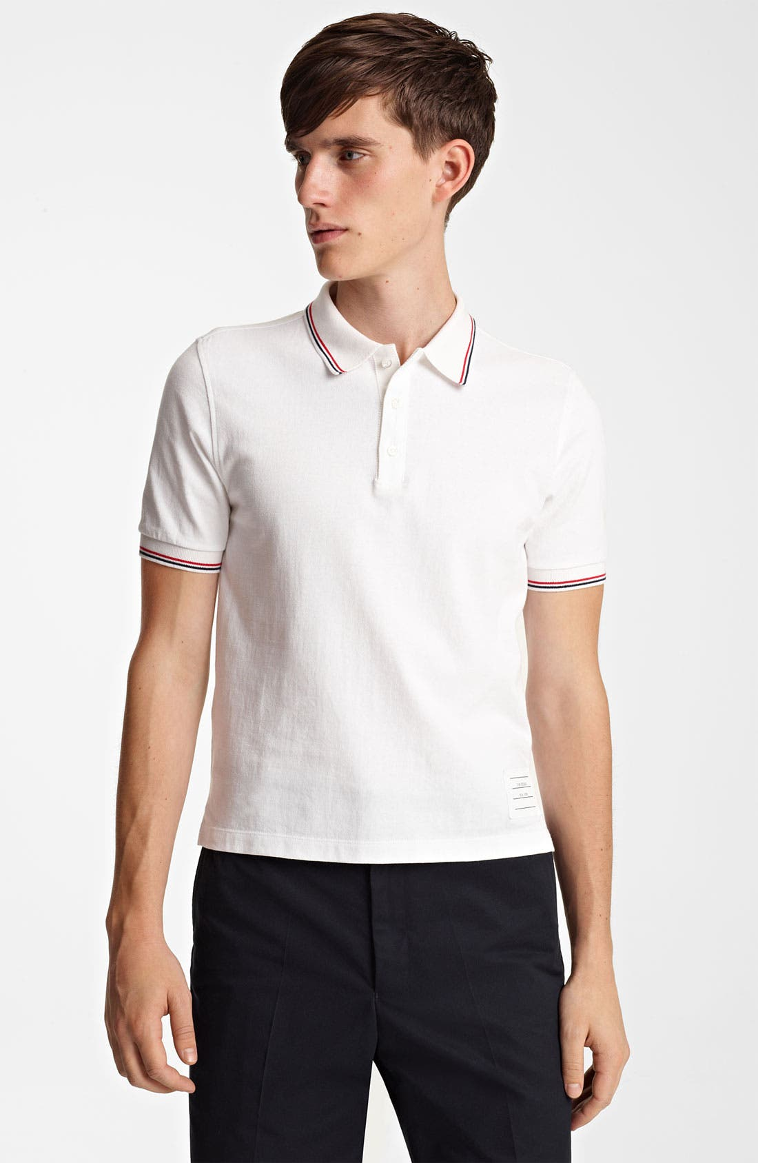 Main Image - Thom Browne Tipped Cotton Jersey Polo